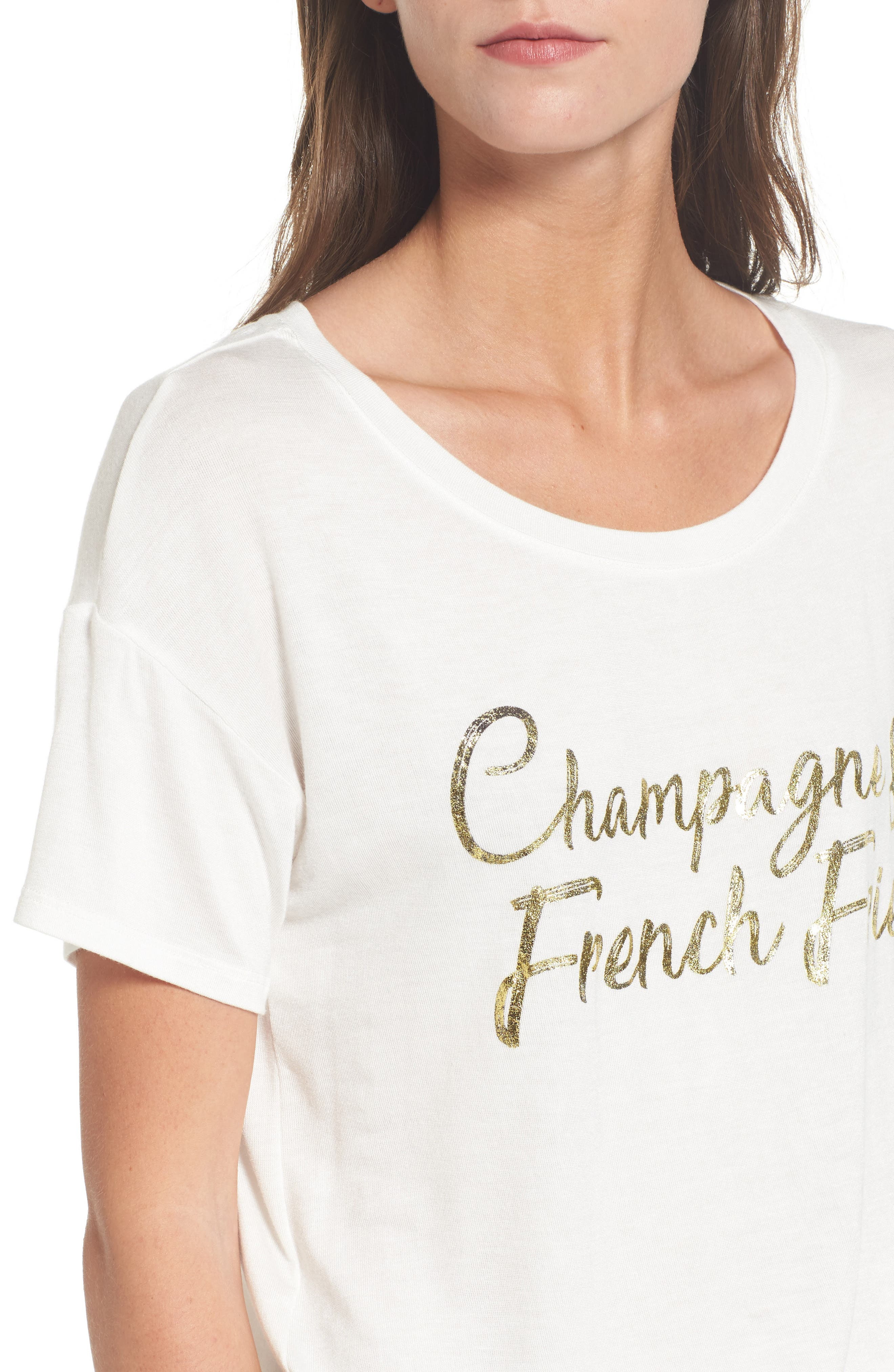 Champagne & French Fries Tee,                             Alternate thumbnail 4, color,                             Ivory