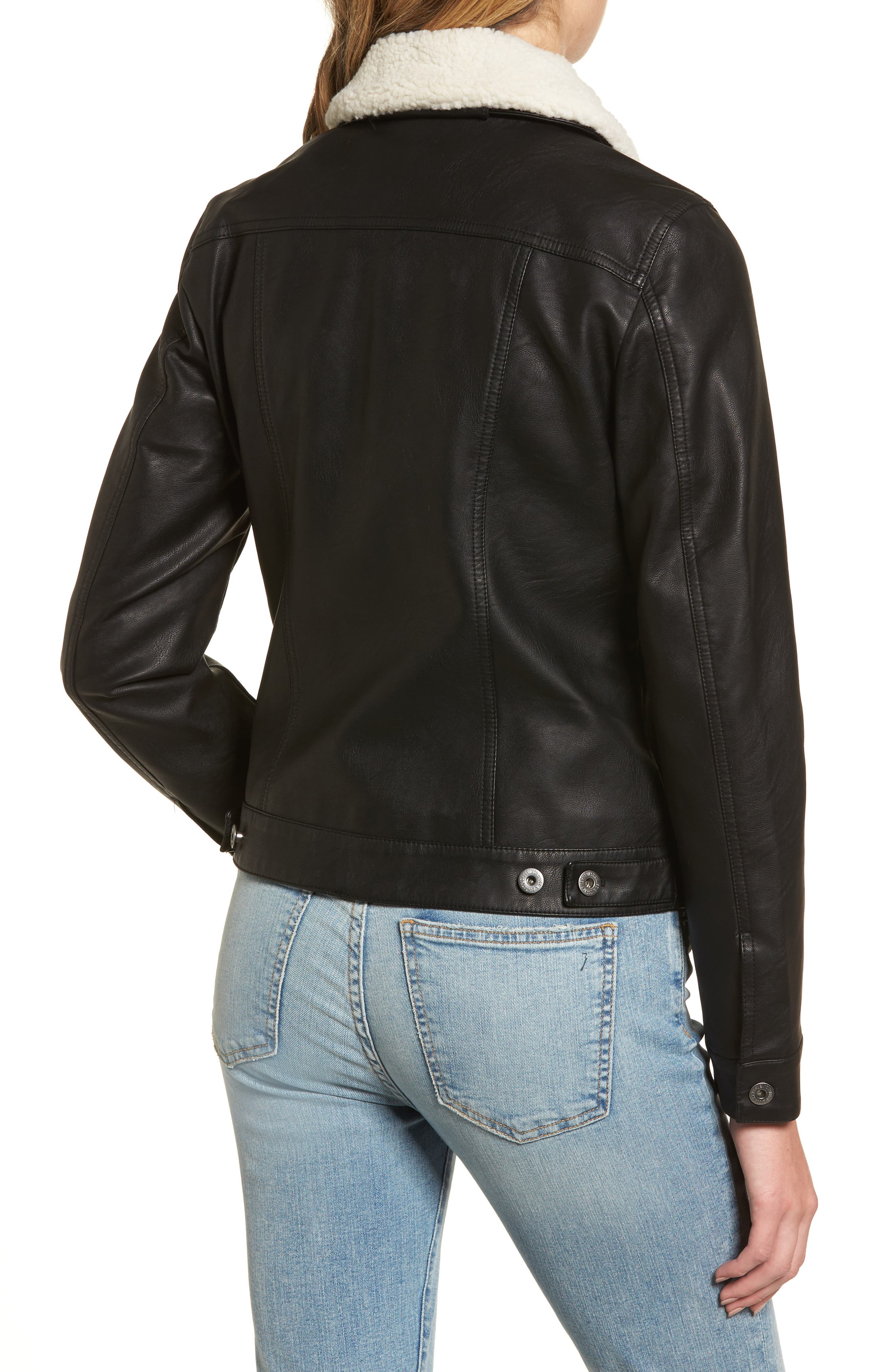 Faux Leather Jacket with Detachable Faux Fur,                             Alternate thumbnail 2, color,                             Black