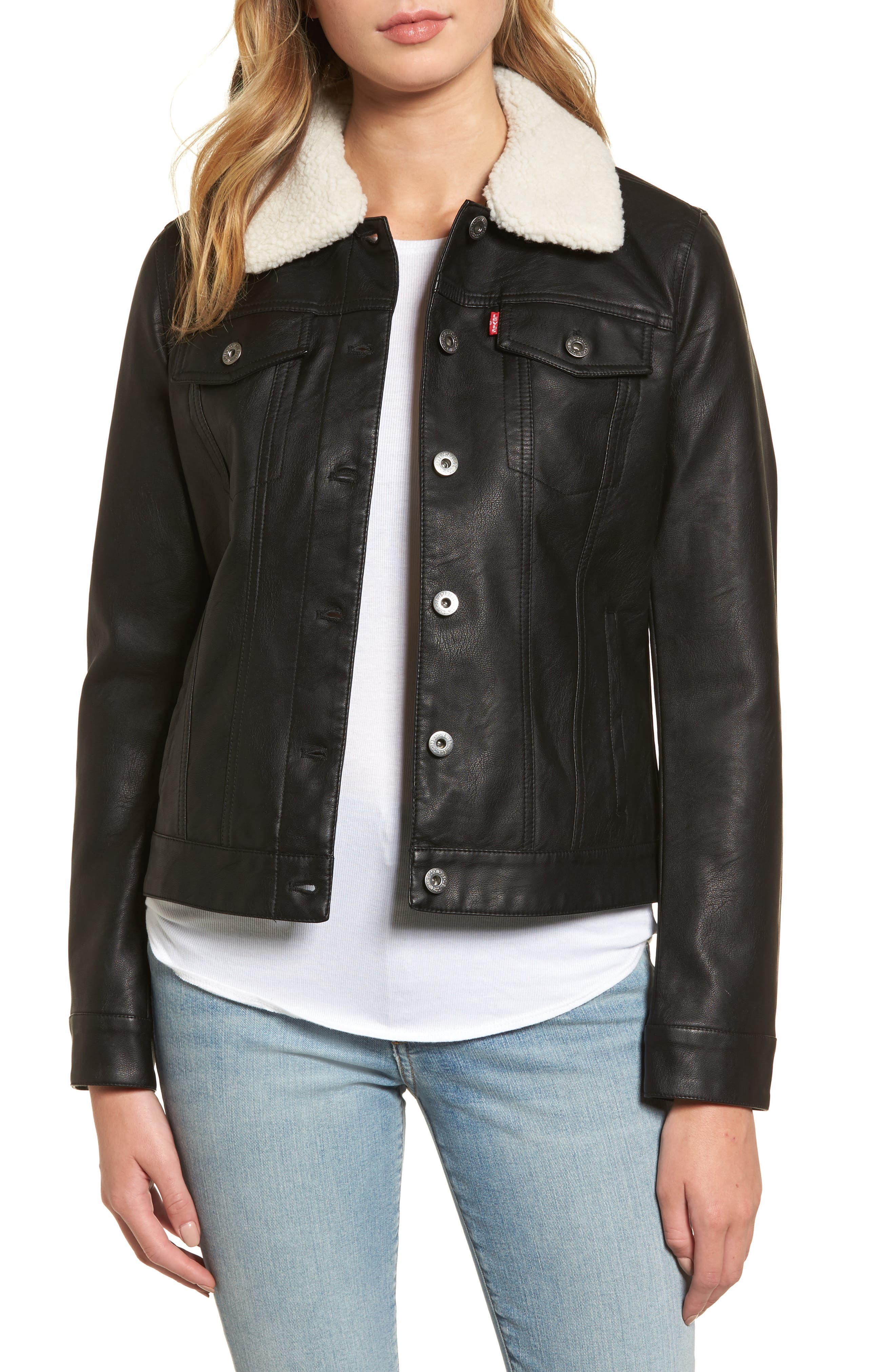 Faux Leather Jacket with Detachable Faux Fur,                         Main,                         color, Black