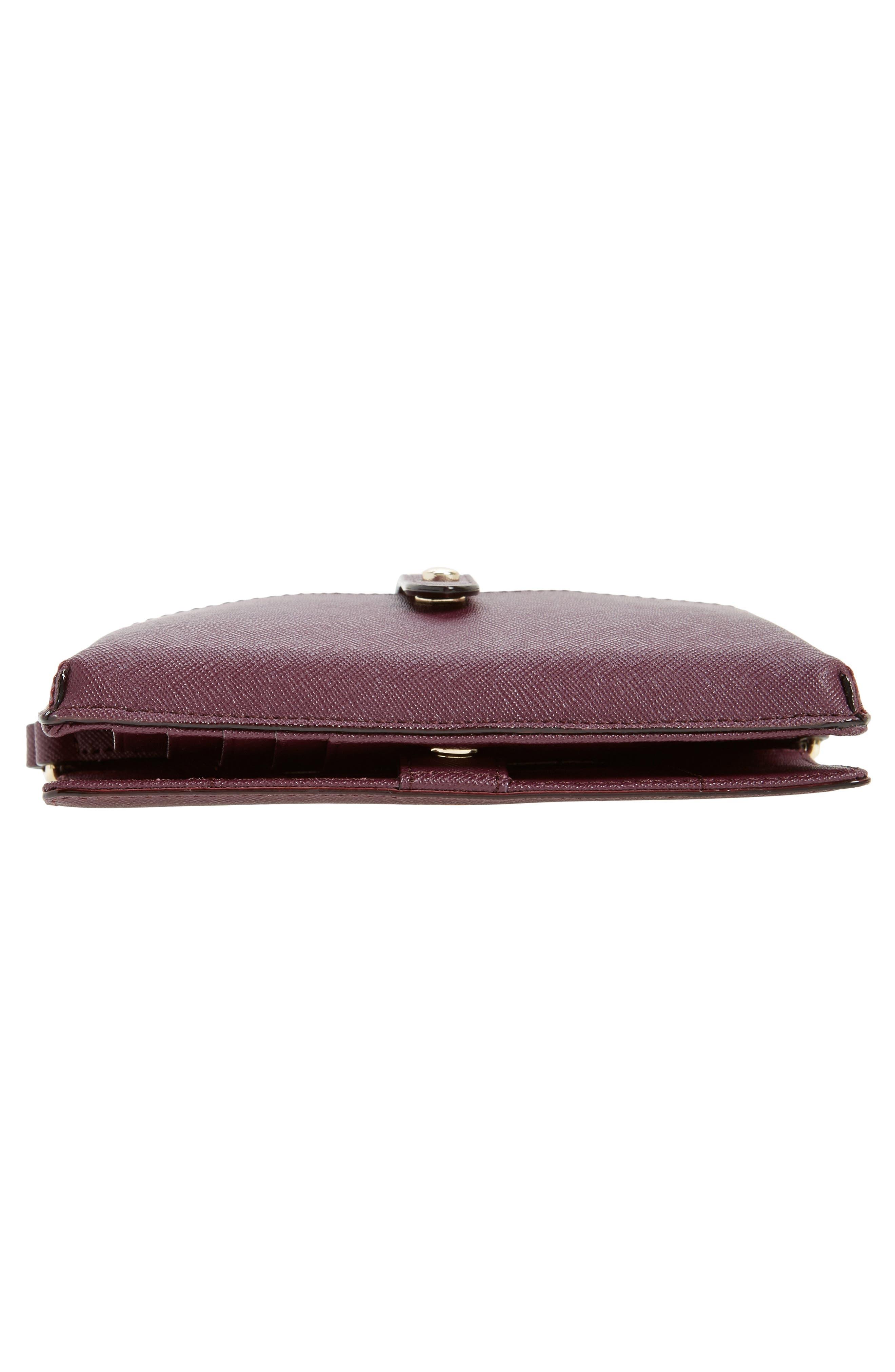 iPhone 7 leather crossbody wallet,                             Alternate thumbnail 3, color,                             Deep Plum