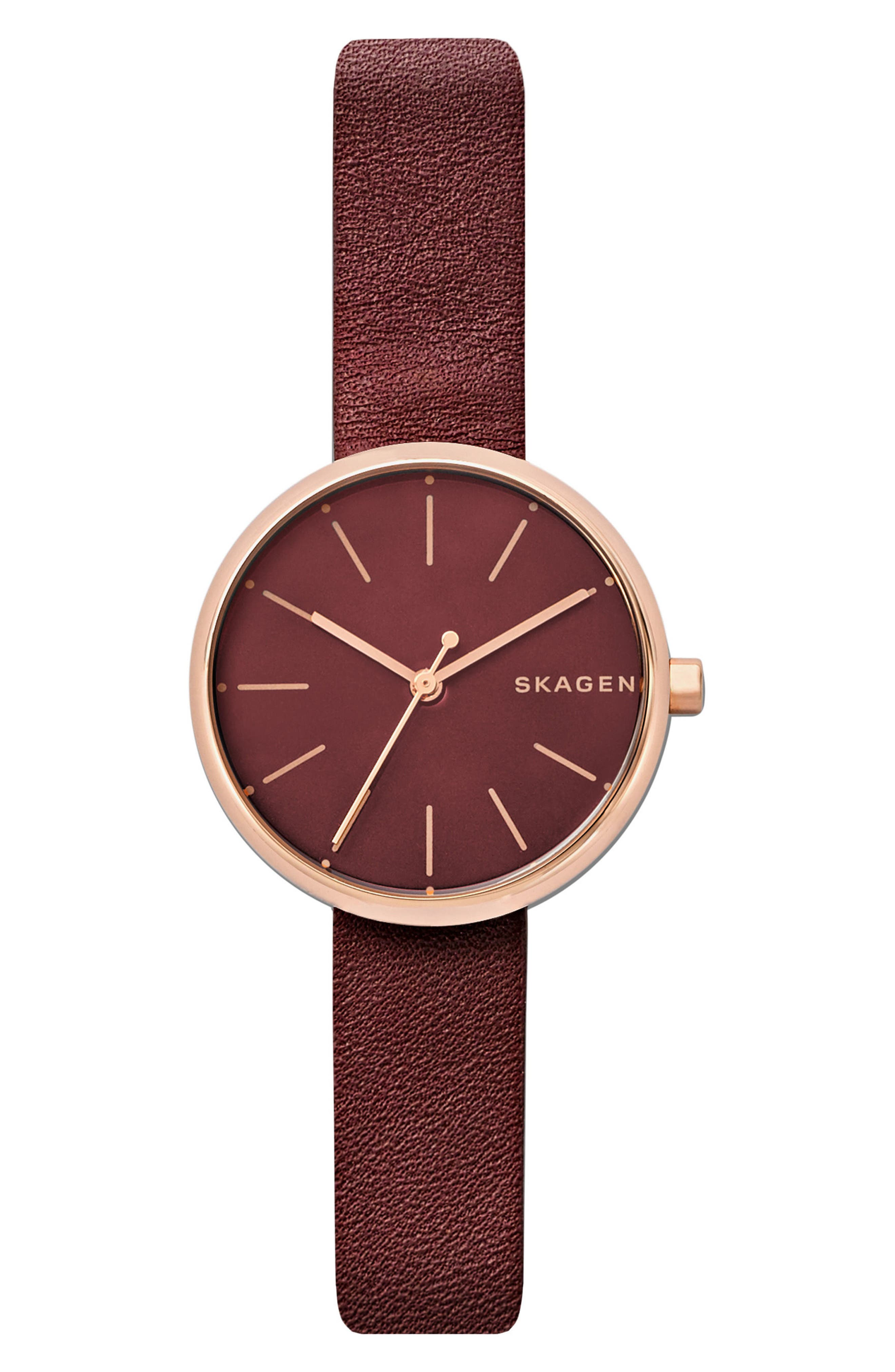 Signatur Leather Strap Watch, 30mm,                         Main,                         color, Red/ Rose Gold