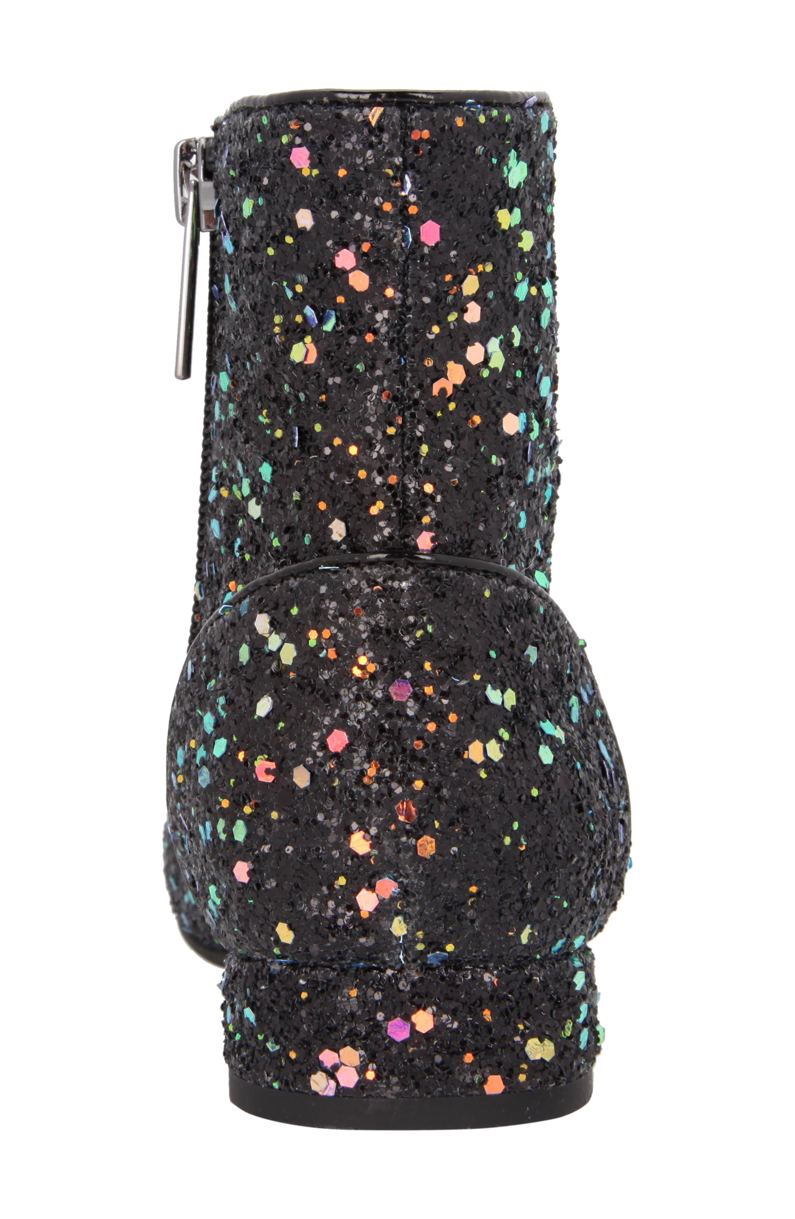 Amy Multicolor Glitter Bootie,                             Alternate thumbnail 7, color,                             Black Chunky Glitter