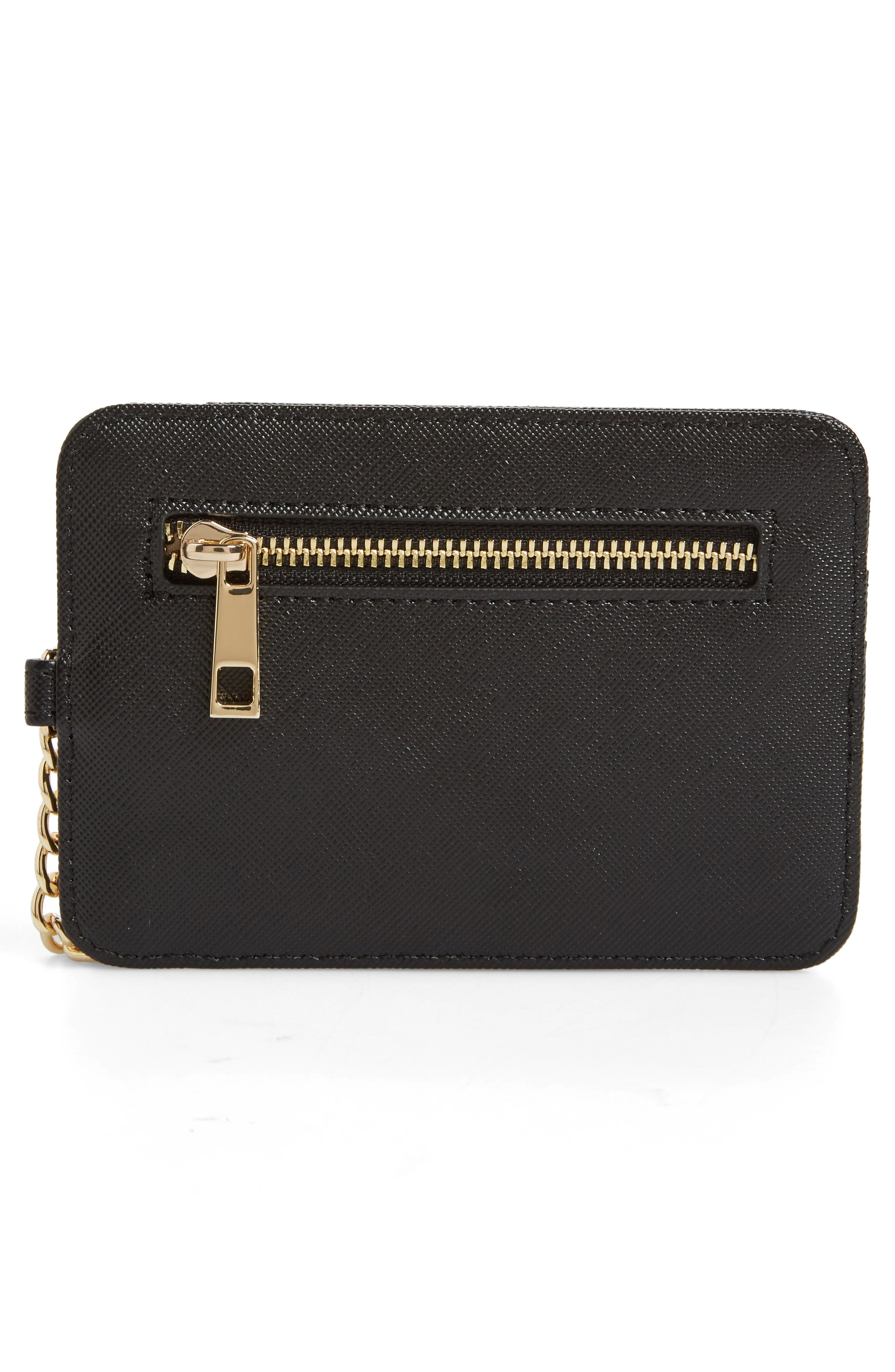 Faux Leather Zip Key Chain Card Case,                             Alternate thumbnail 2, color,                             Black