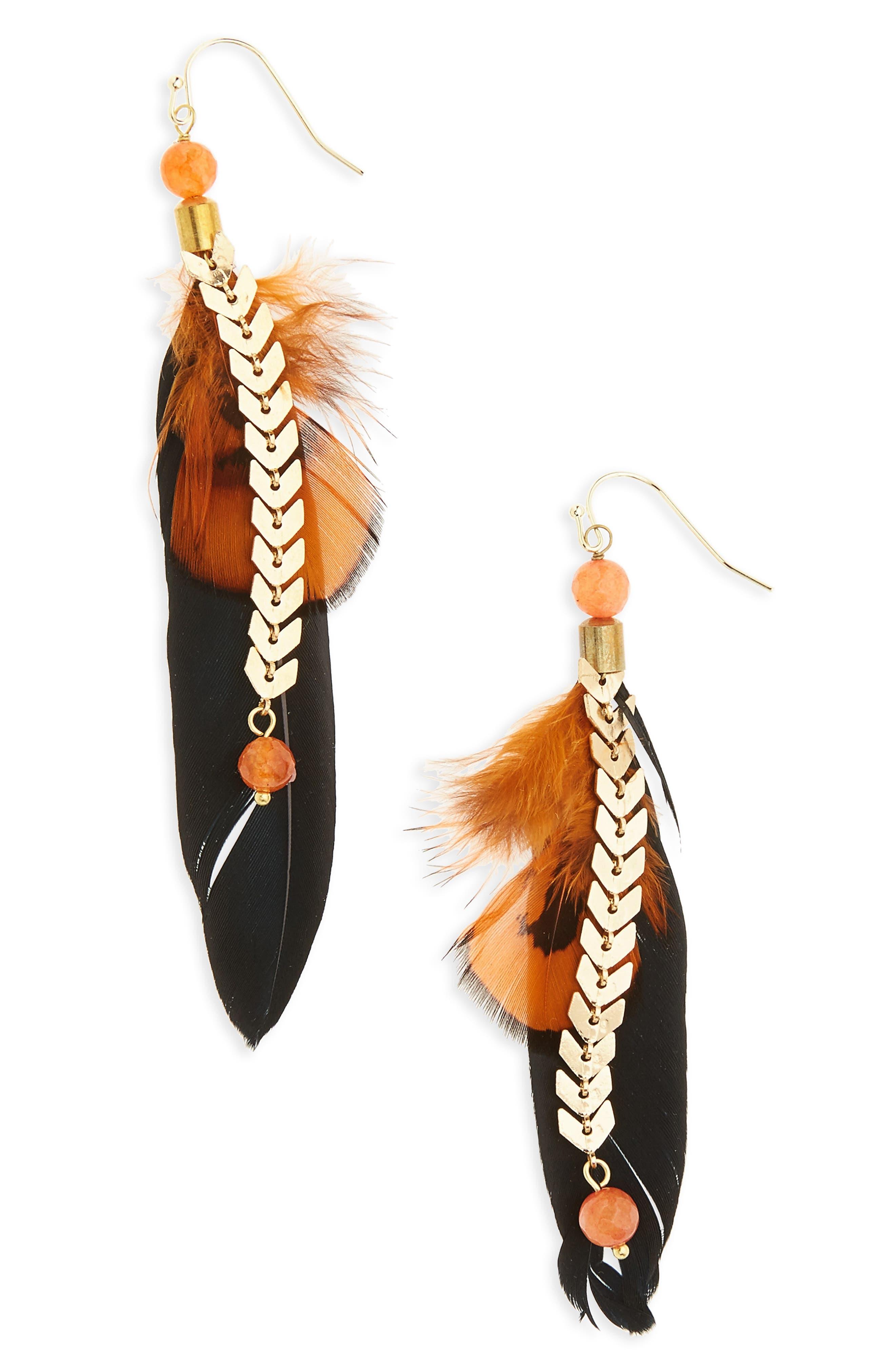 Panacea Feather Chain Earrings