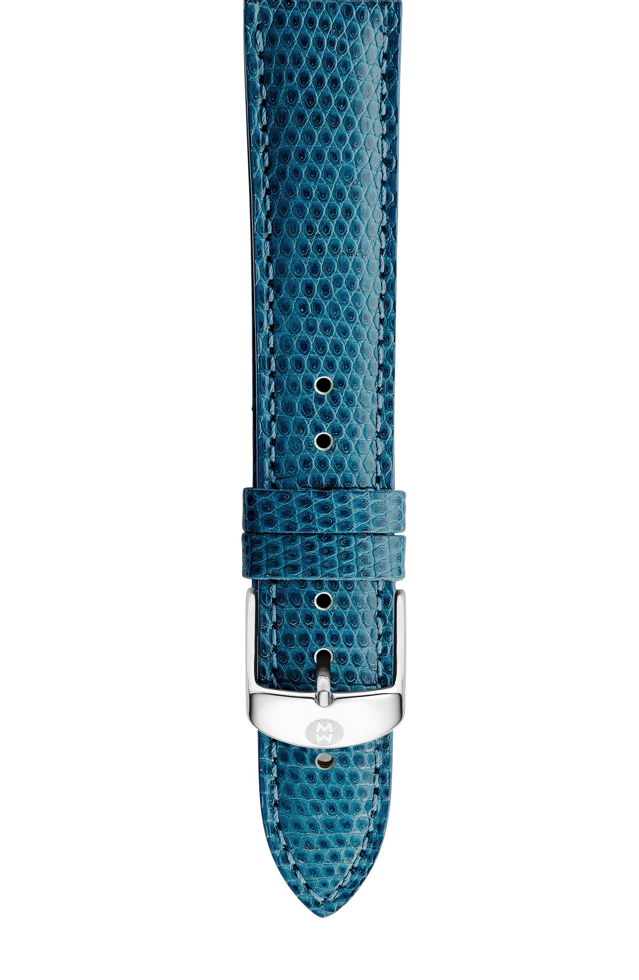 18mm Lizardskin Watch Strap,                         Main,                         color, Blue