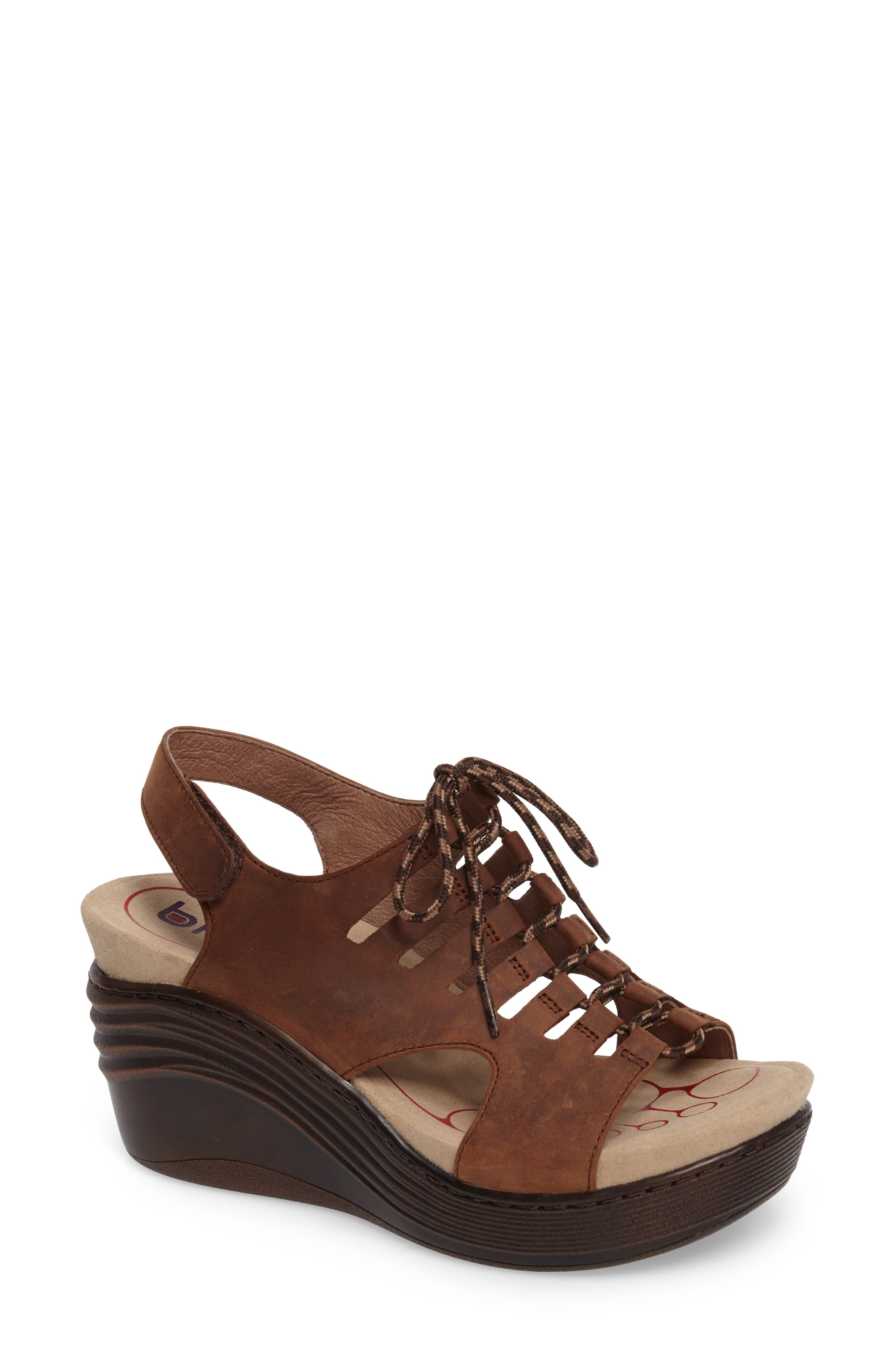 Sirus Wedge Sandal,                         Main,                         color, Aztec Brown Leather