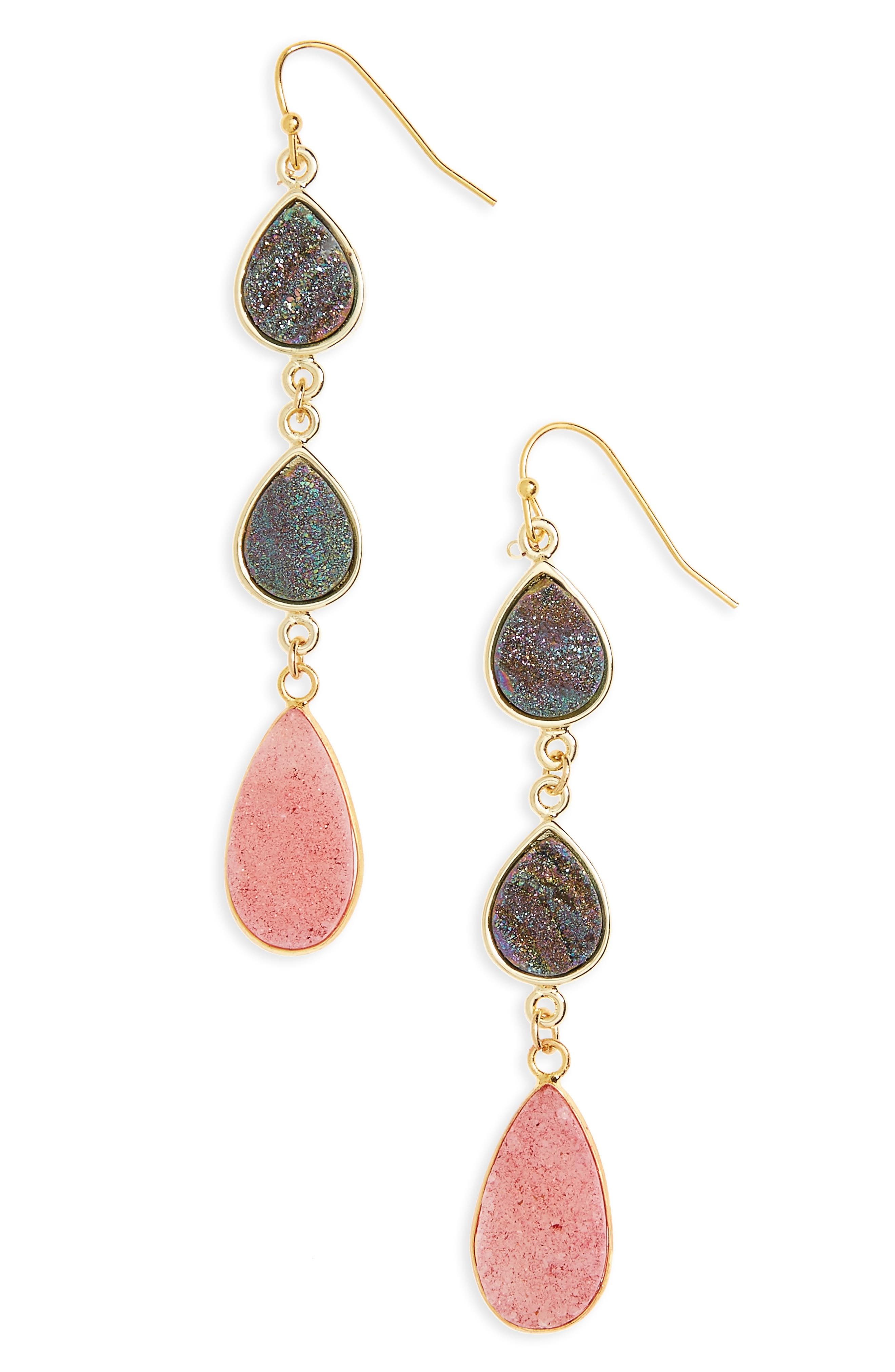 Drusy Linear Earrings,                             Main thumbnail 1, color,                             Pink