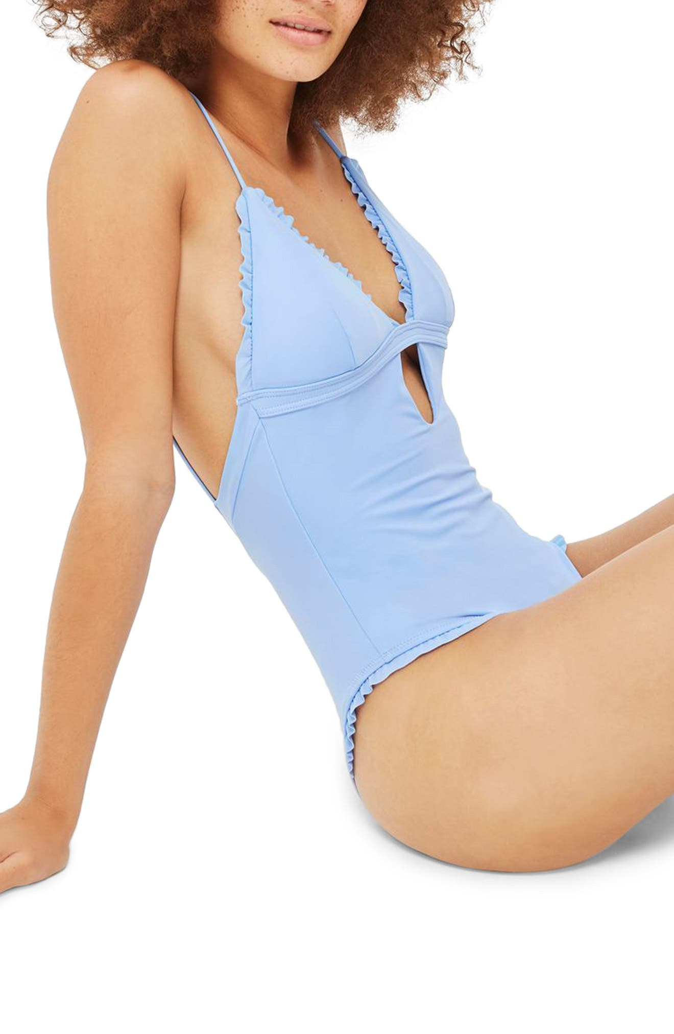 Ruffle Plunge One-Piece Swimsuit,                         Main,                         color, Cornflower