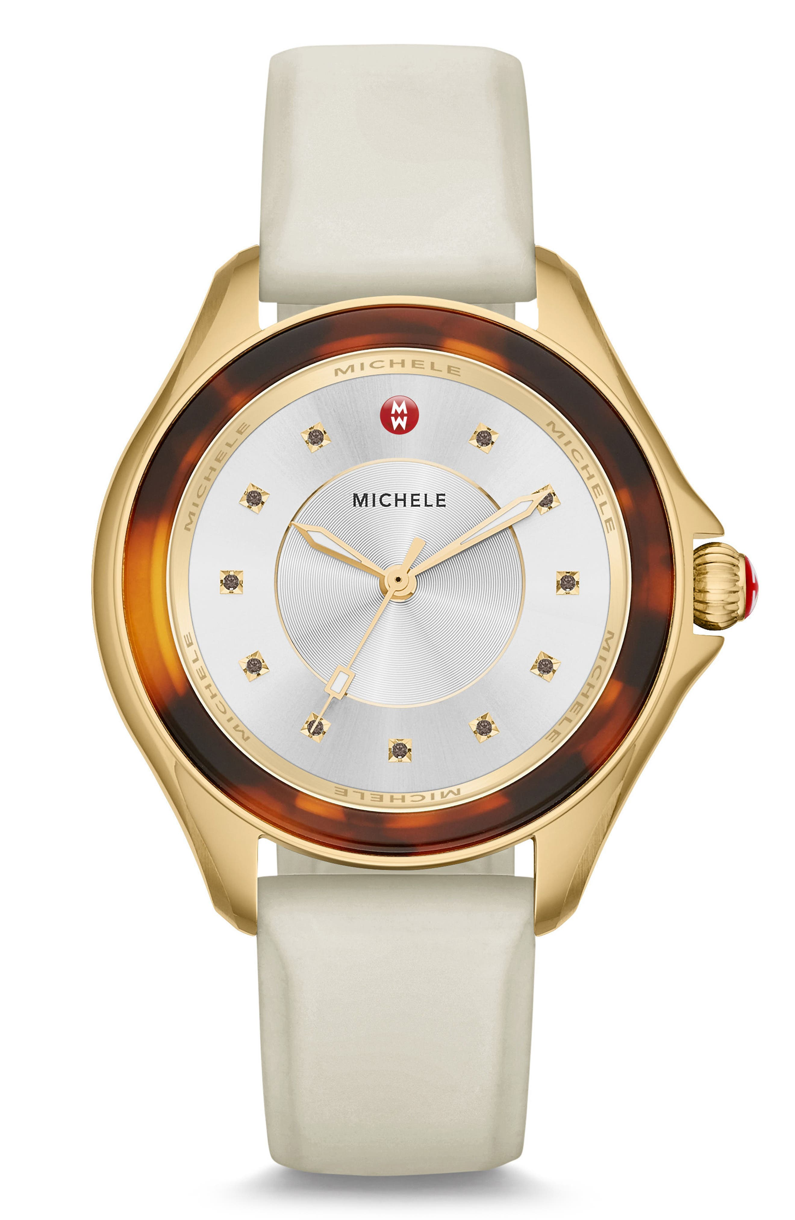 Cape Jewel Head & Silicone Strap Watch, 40mm,                         Main,                         color, Beige/ Tort/ Gold
