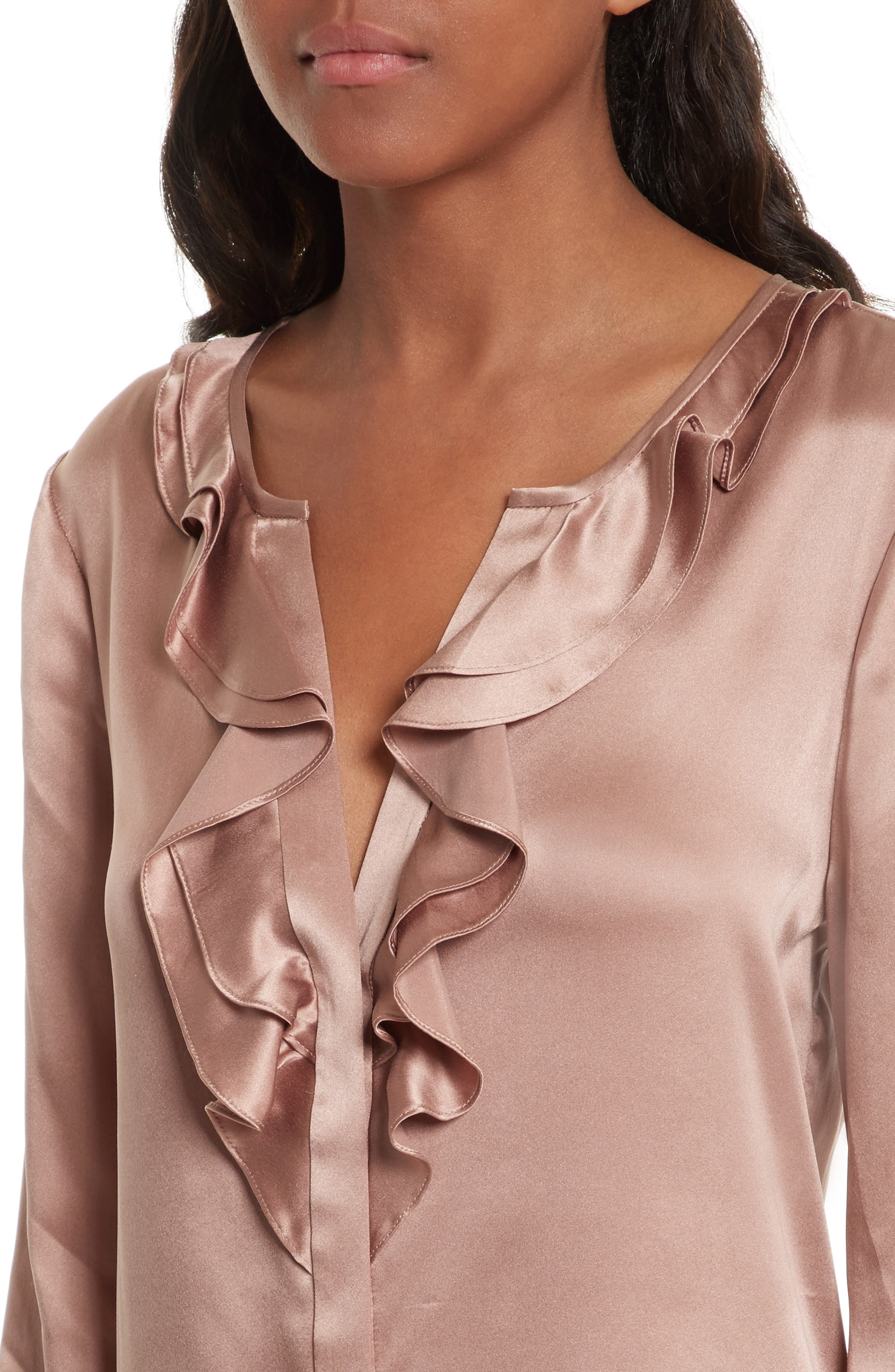 Jayanne B Silk Blouse,                             Alternate thumbnail 4, color,                             Dried Rose