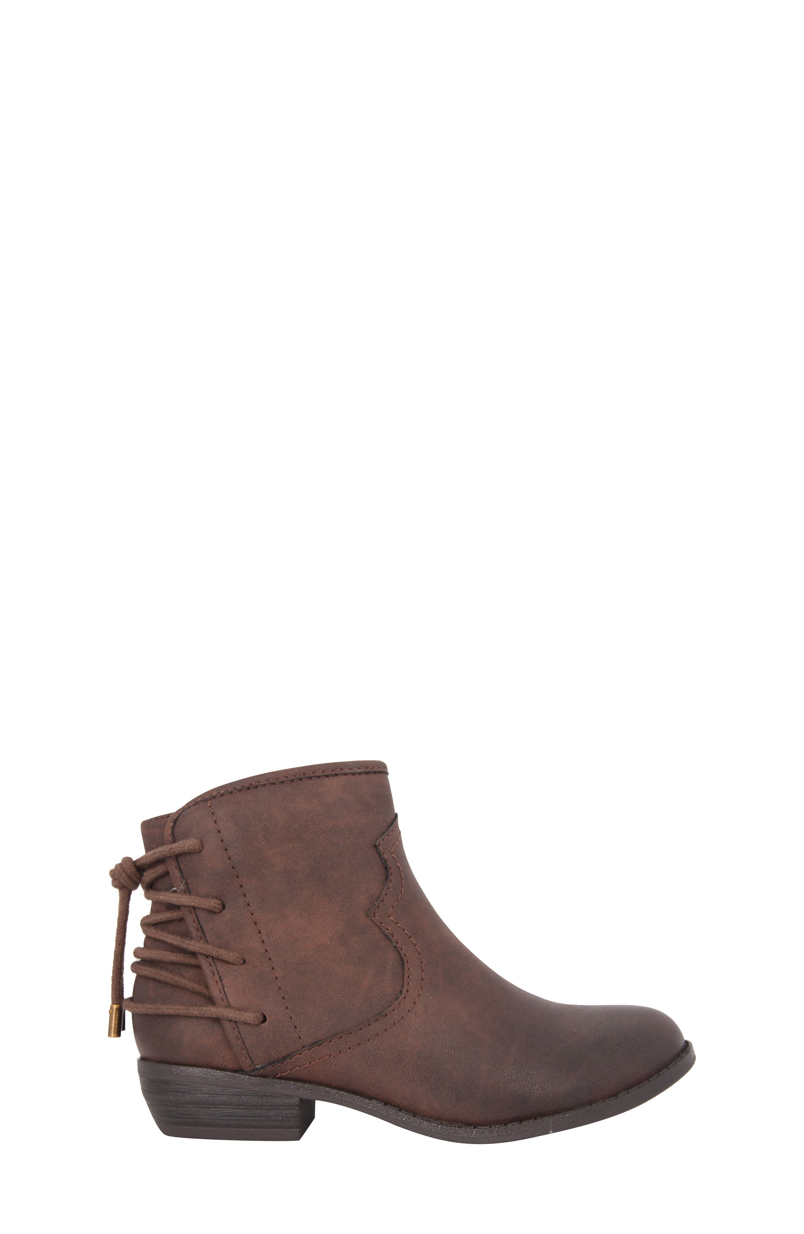 Evette Distressed Back-Lace Bootie,                             Alternate thumbnail 3, color,                             Brown Faux Leather