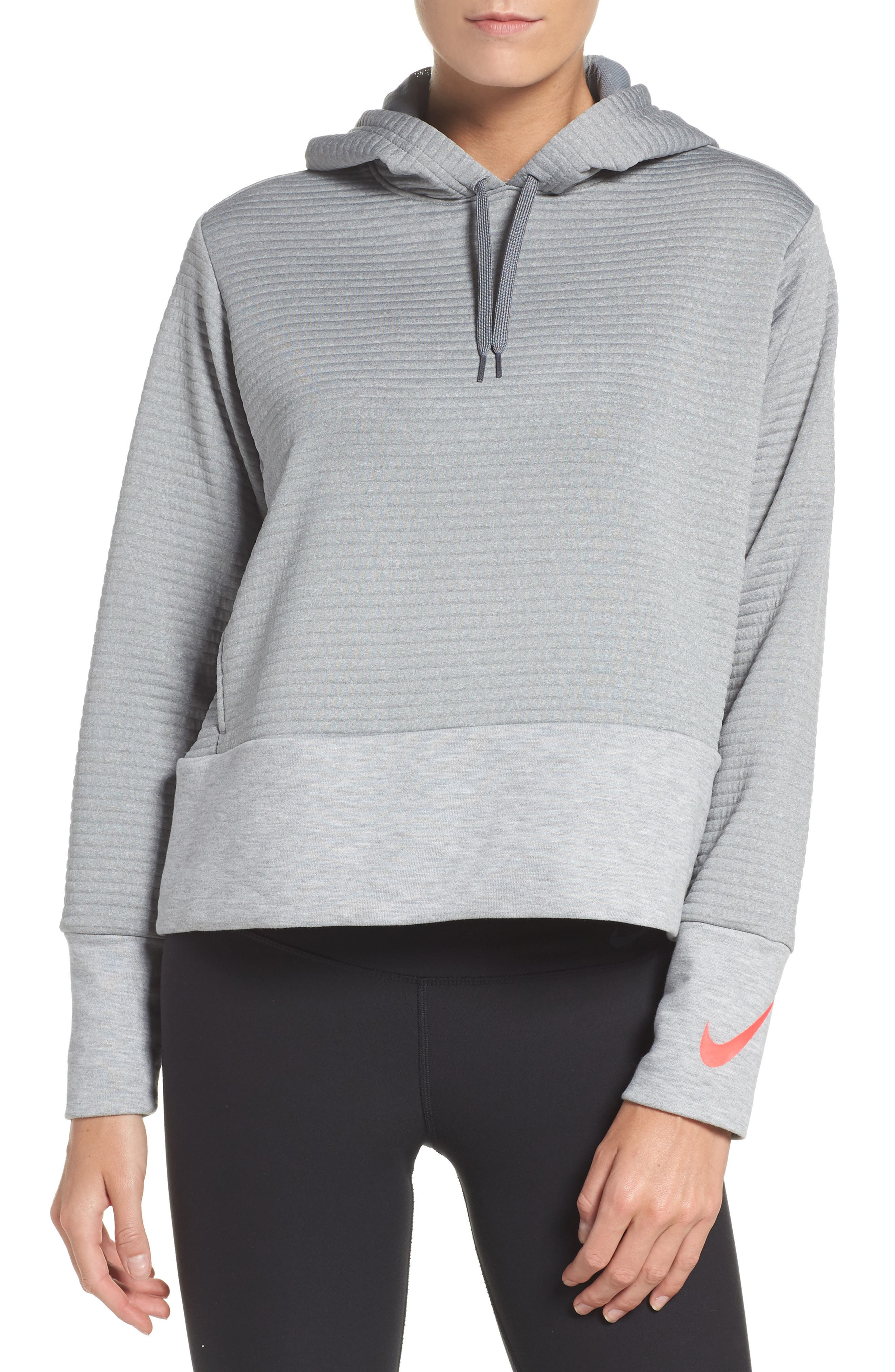 Dry Ribbed Hoodie,                             Main thumbnail 1, color,                             Dark Grey Heather/ Grey/ Pink