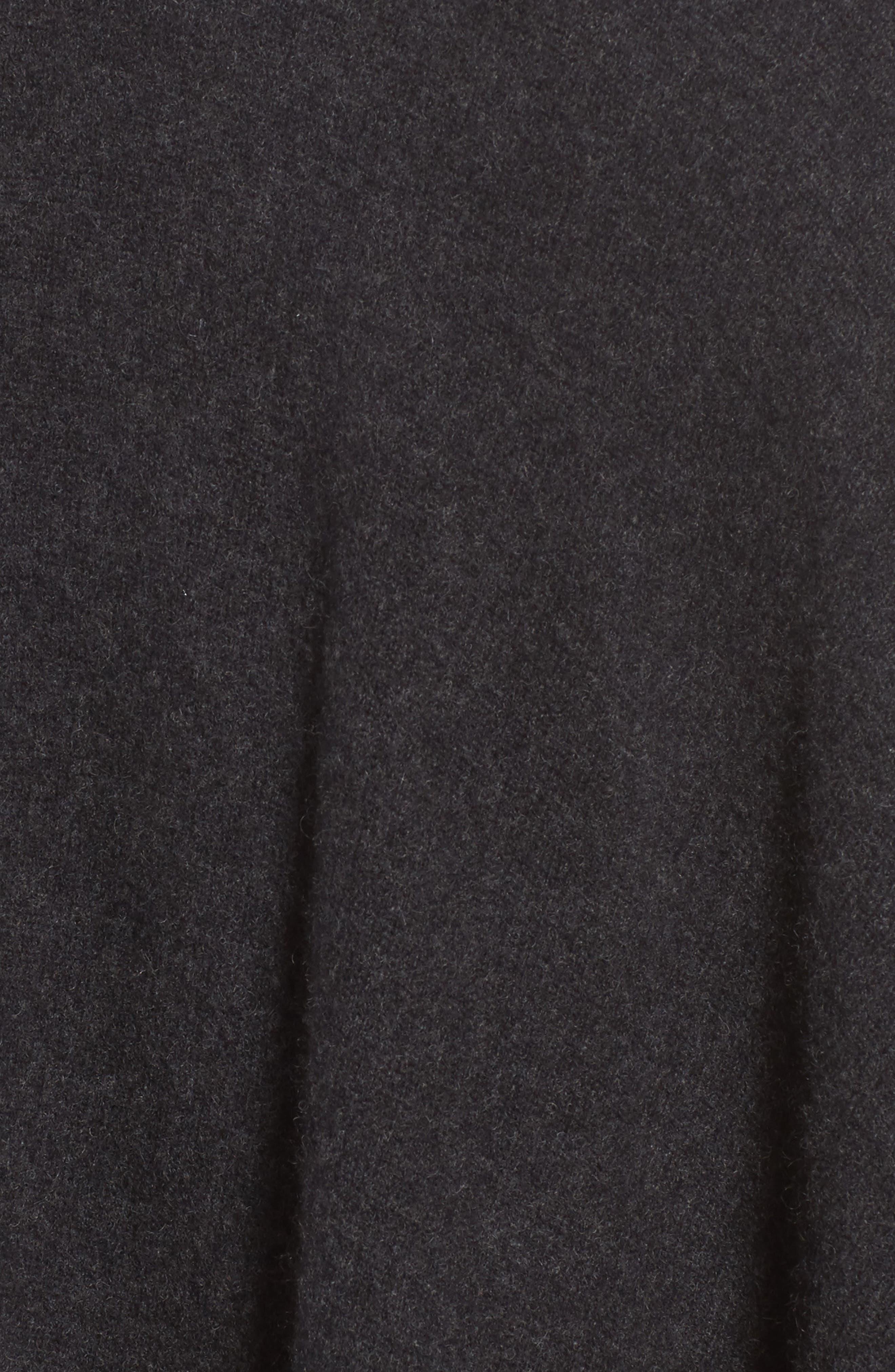 Luxe Stripe Cashmere Ruana,                             Alternate thumbnail 5, color,                             Black Rock Heather Combo