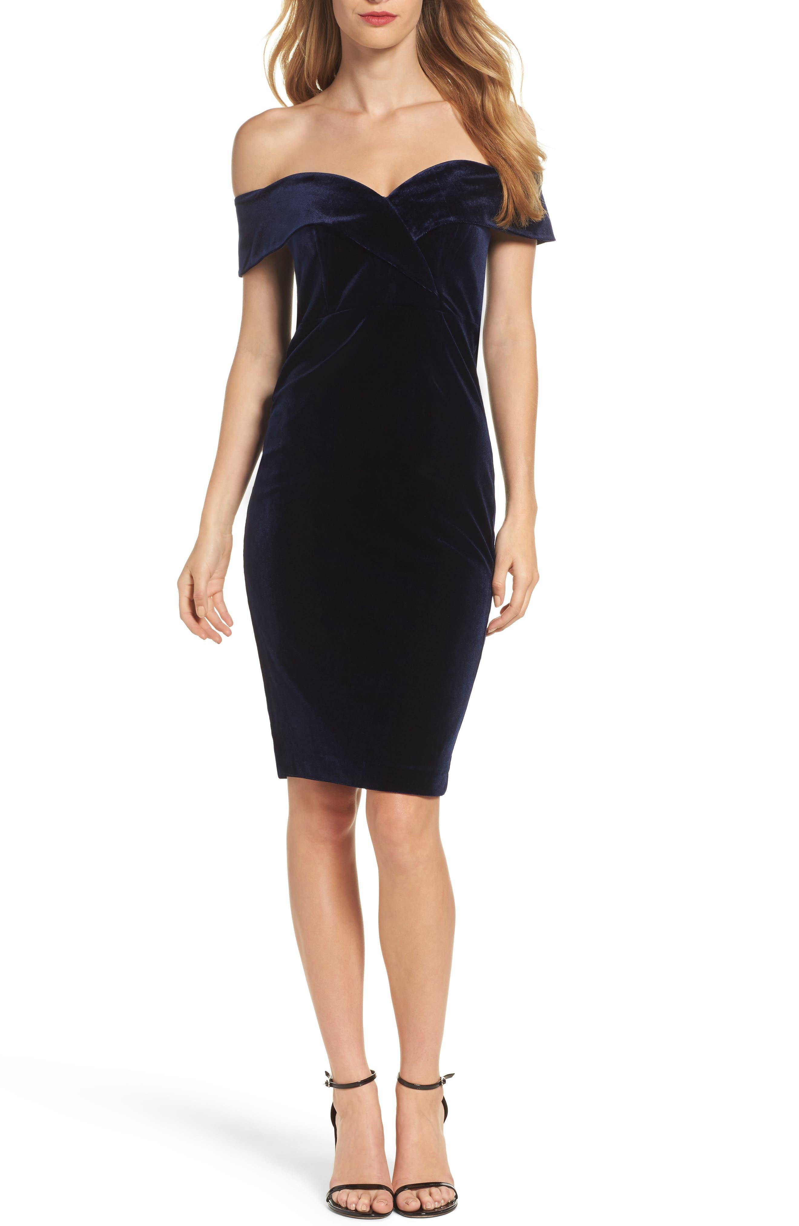 Bella Velvet Off the Shoulder Dress,                         Main,                         color, Royal Blue