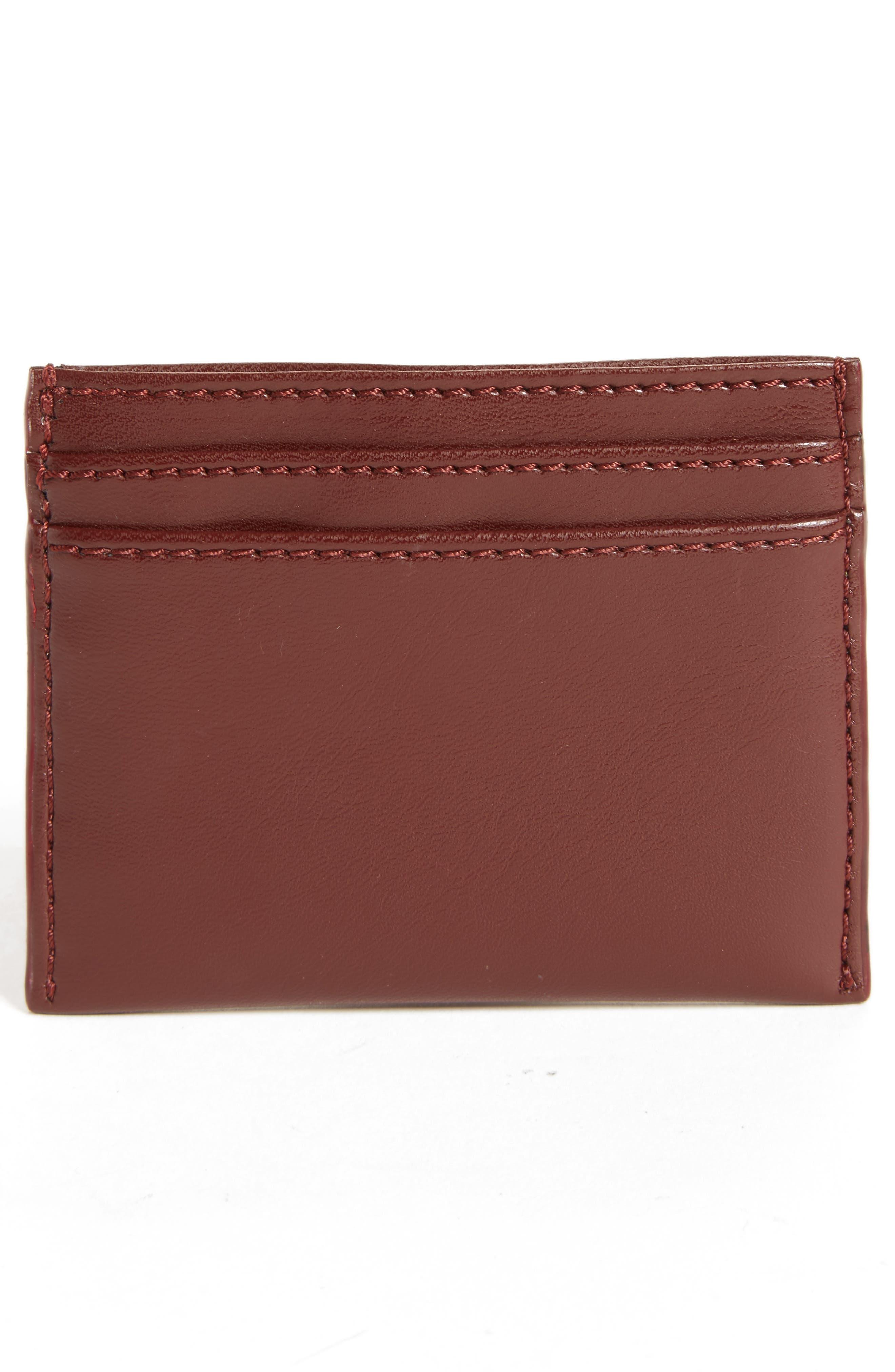 Falabella Star Cutout Faux Leather Card Case,                             Alternate thumbnail 2, color,                             Black