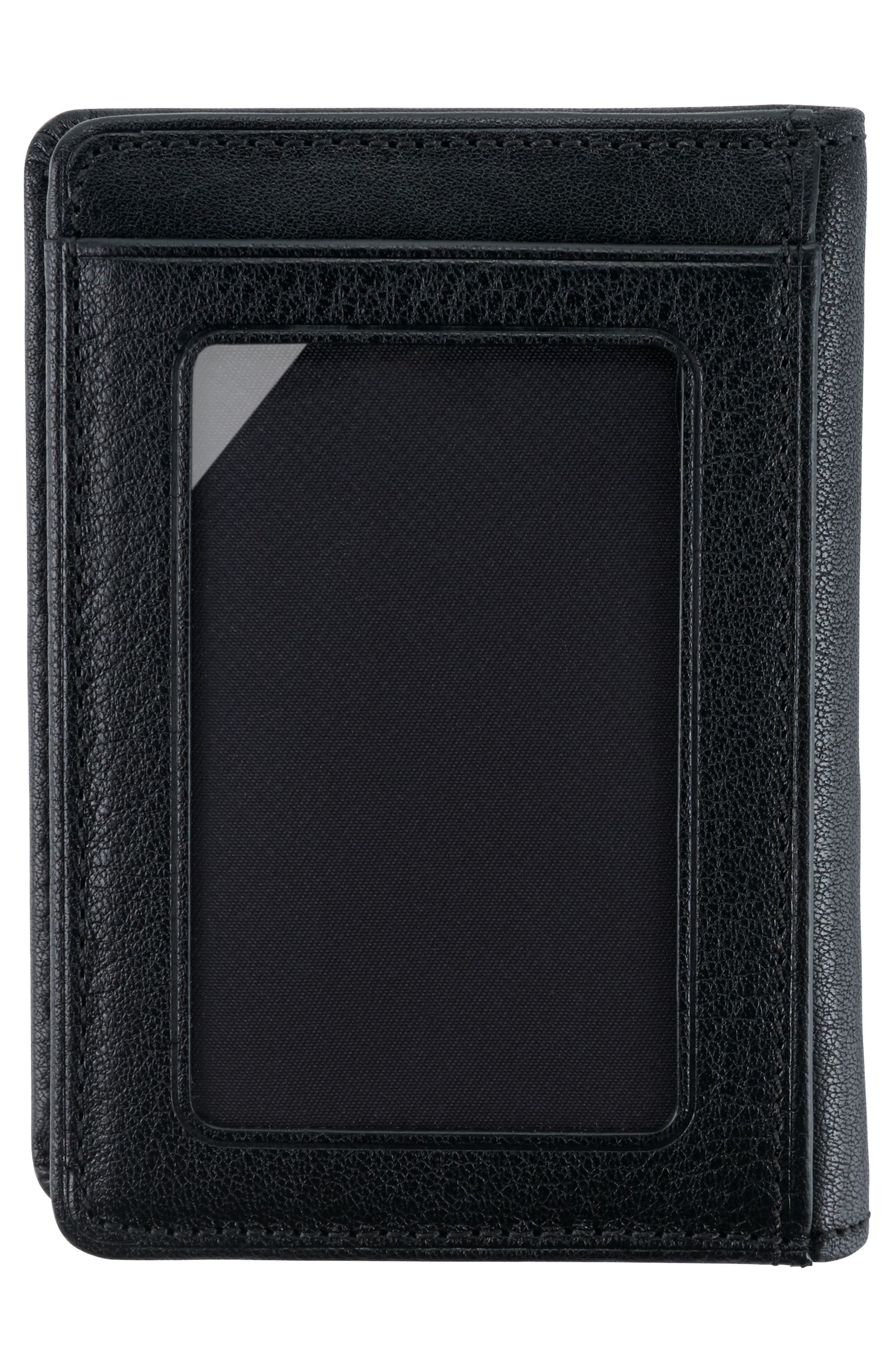 Leather Card Case,                             Alternate thumbnail 3, color,                             Black Textured