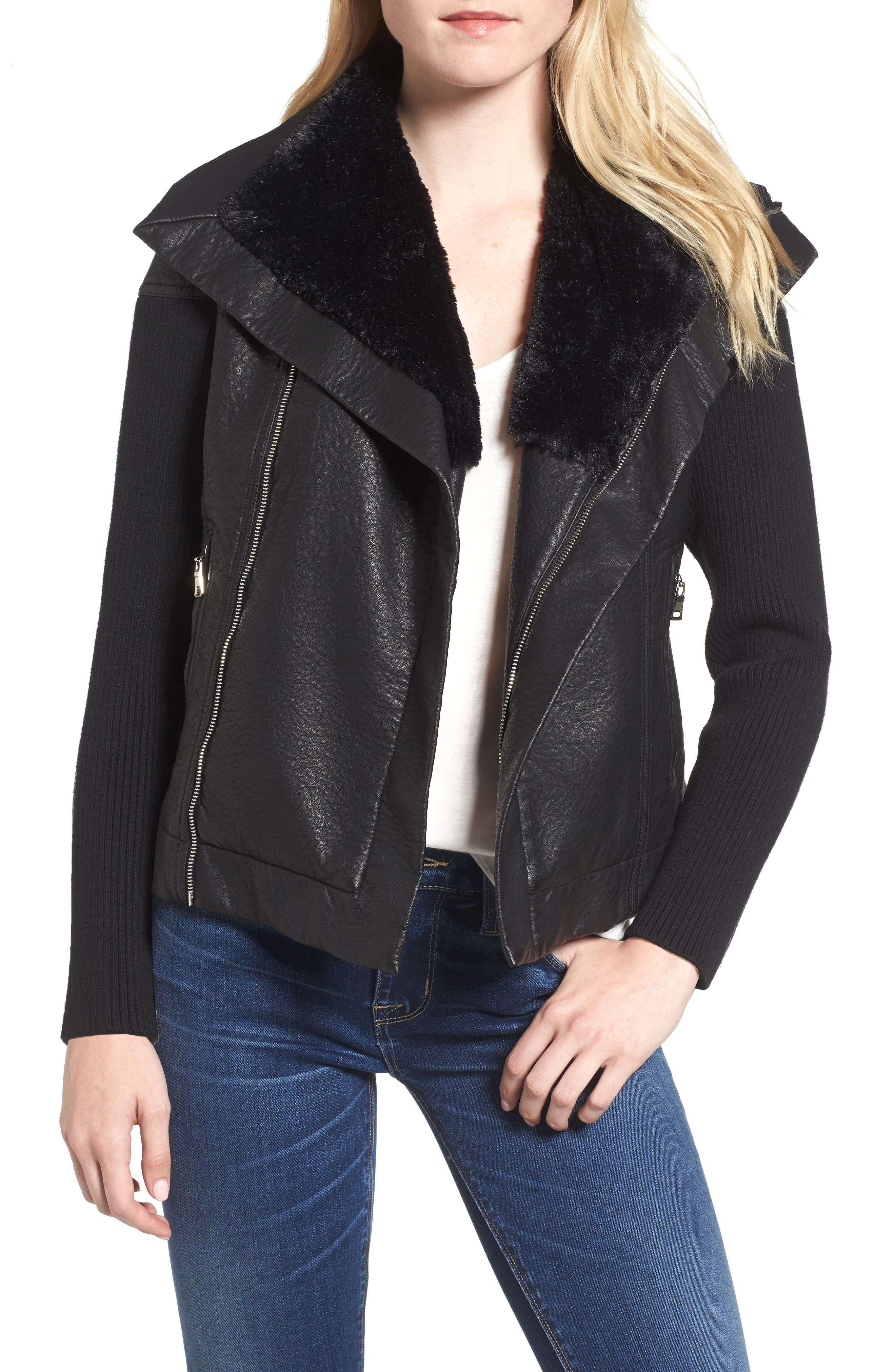 Love Token Faux Leather Jacket with Faux Fur Trim