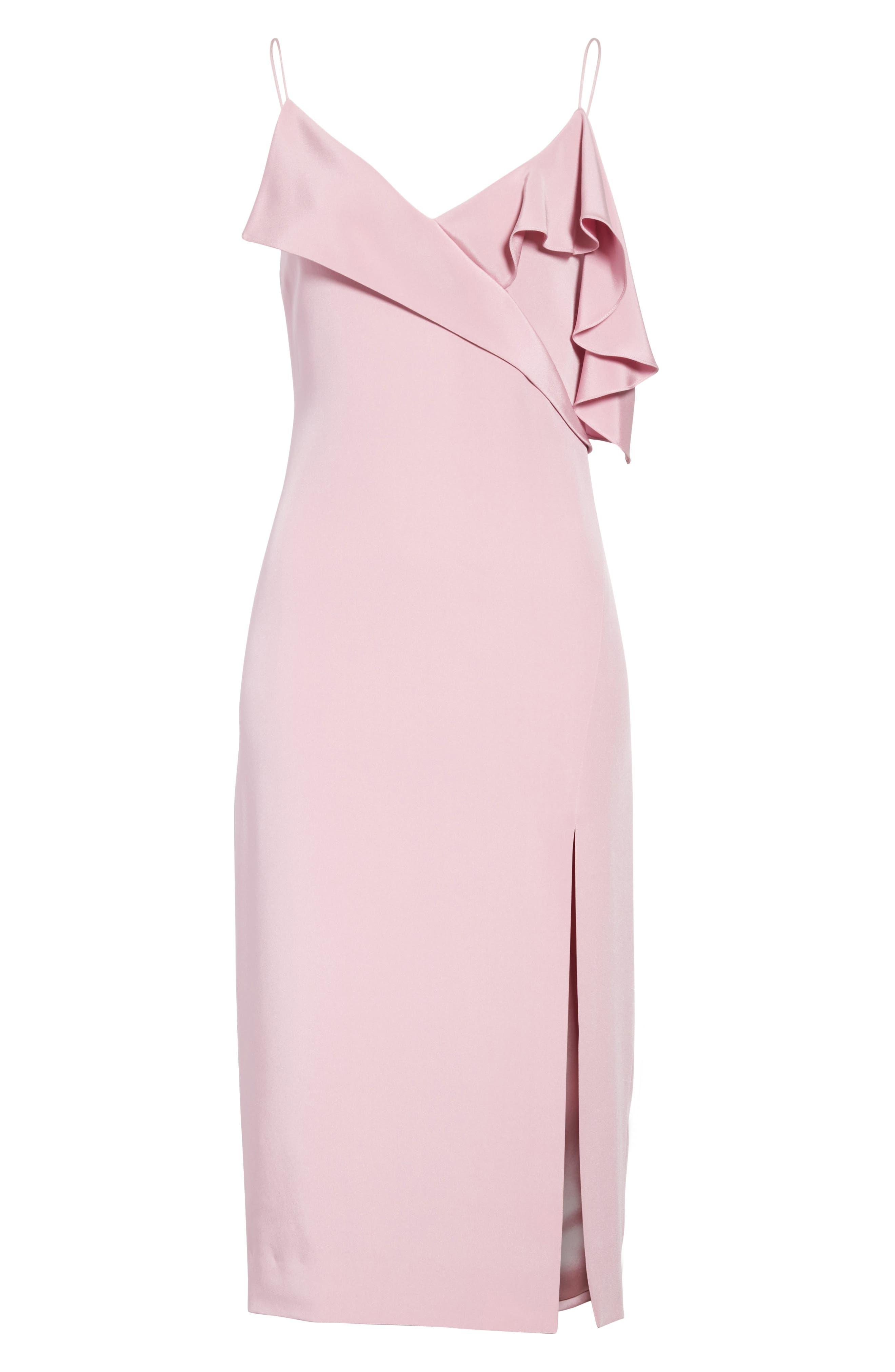 Asymmetrical Ruffle Silk Dress,                             Alternate thumbnail 8, color,                             Quartz