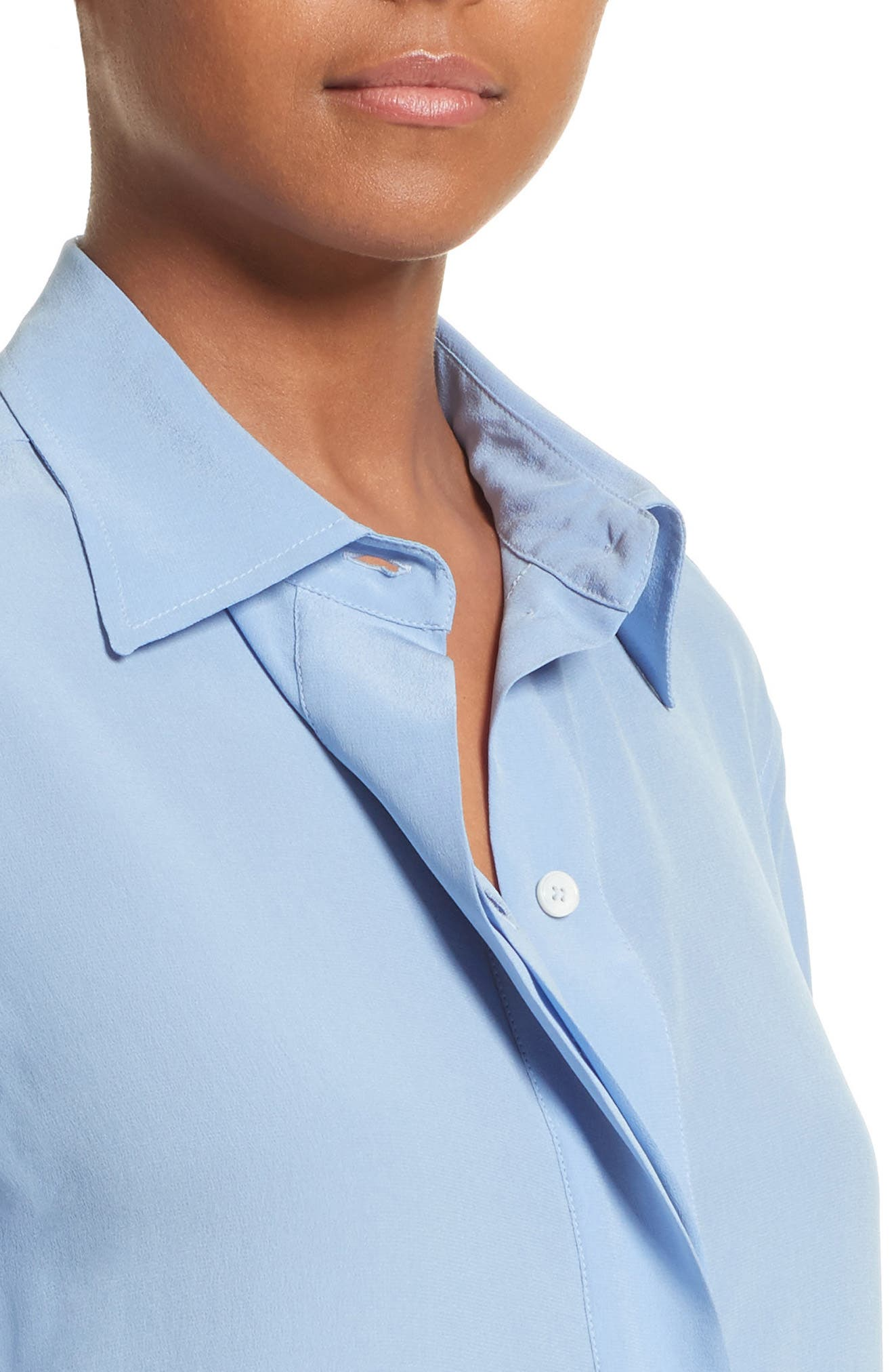 Silk Blouse,                             Alternate thumbnail 4, color,                             Oxford Blue