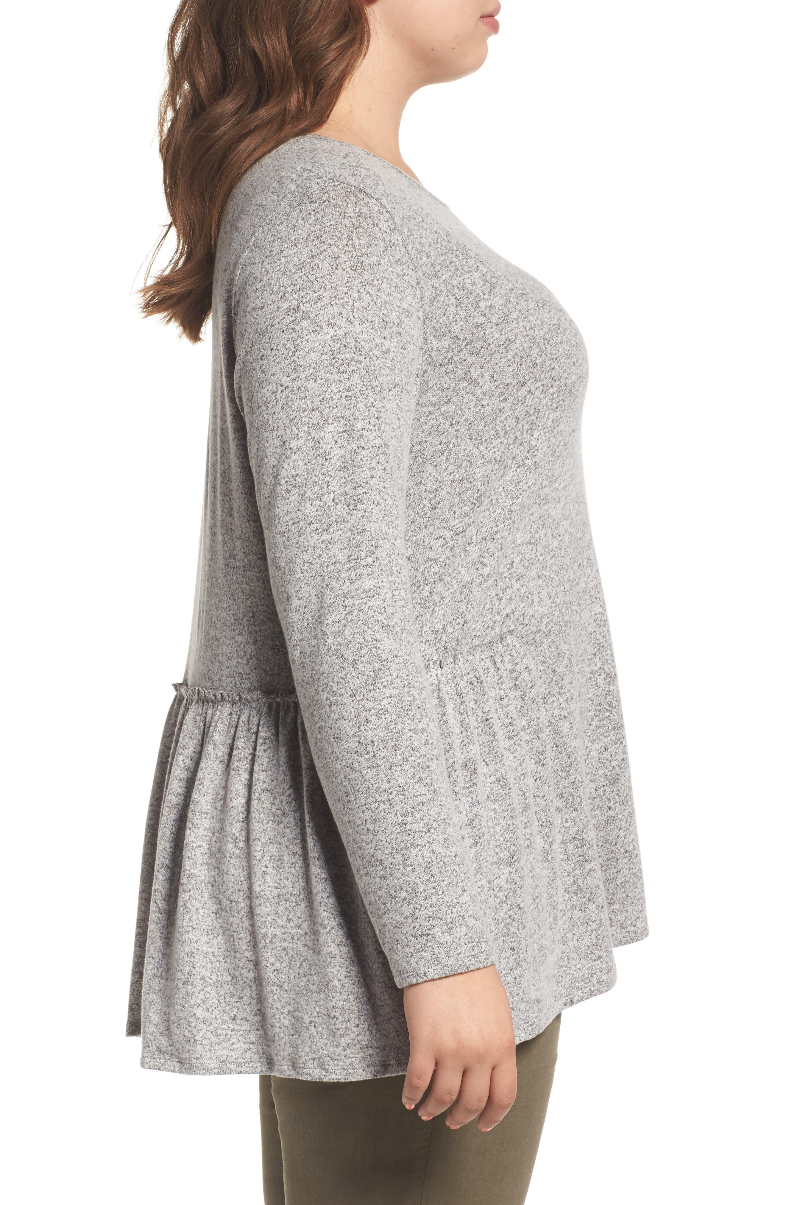 Alternate Image 3  - Caslon® Cozy Back Peplum Top (Plus Size)