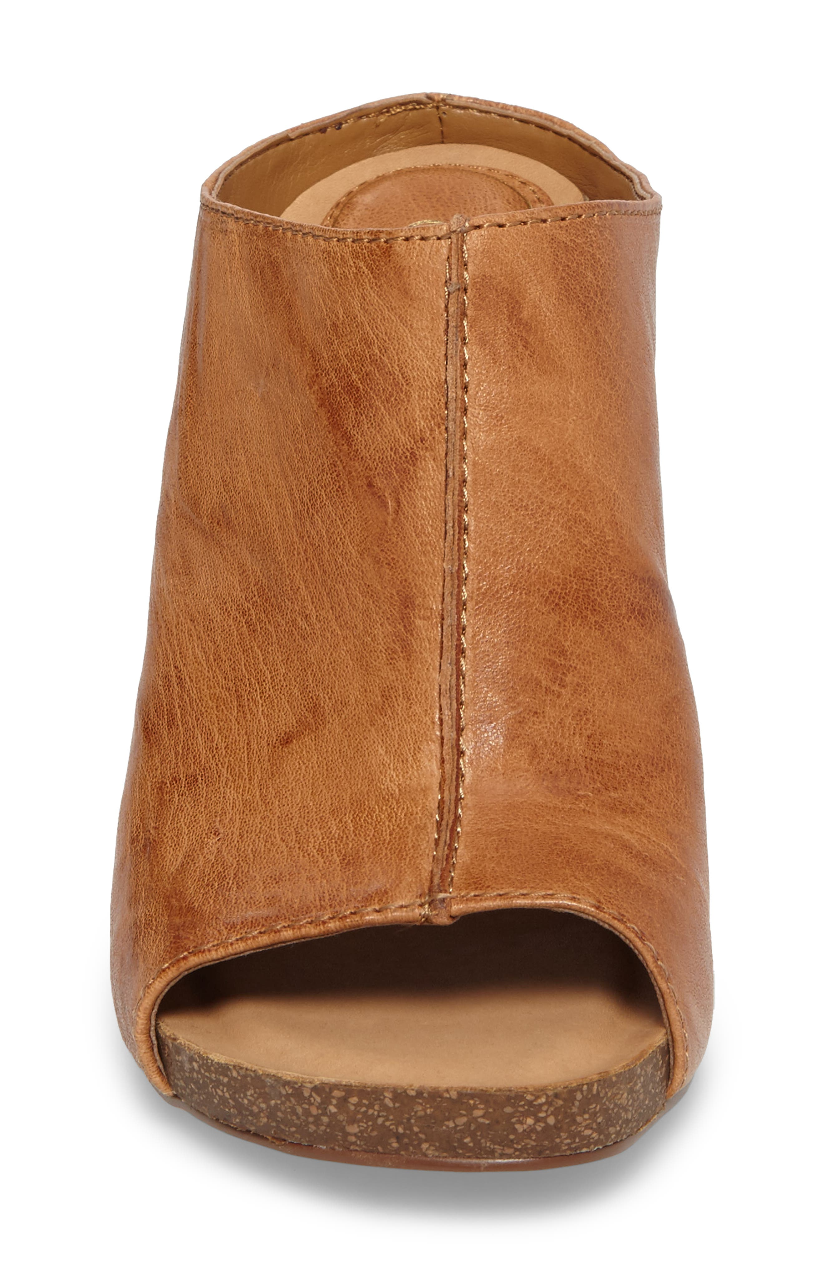 Isabella Open Toe Mule,                             Alternate thumbnail 4, color,                             Luggage Leather