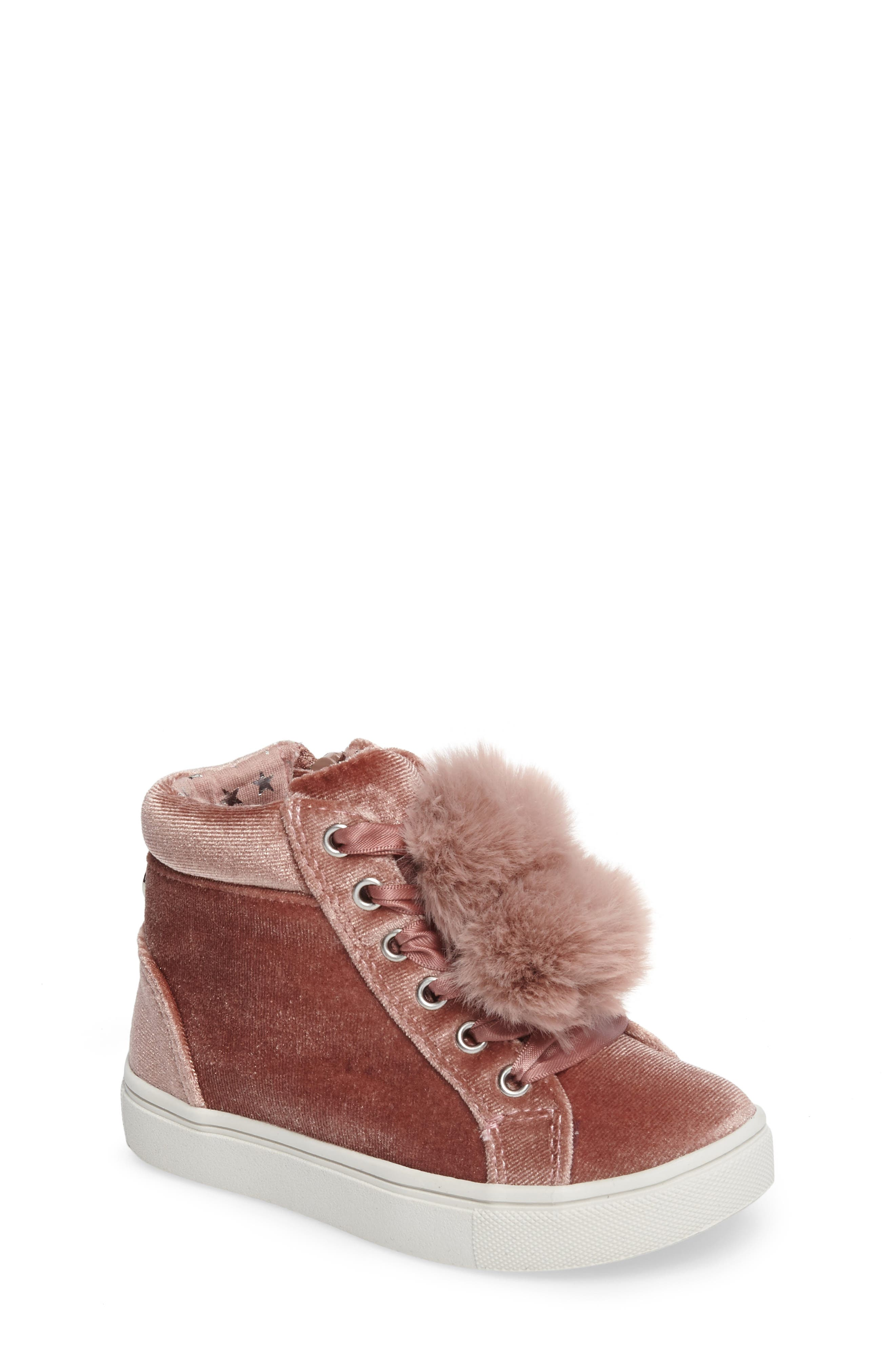 Steve Madden Brielle Faux Fur High Top Sneaker (Toddler)
