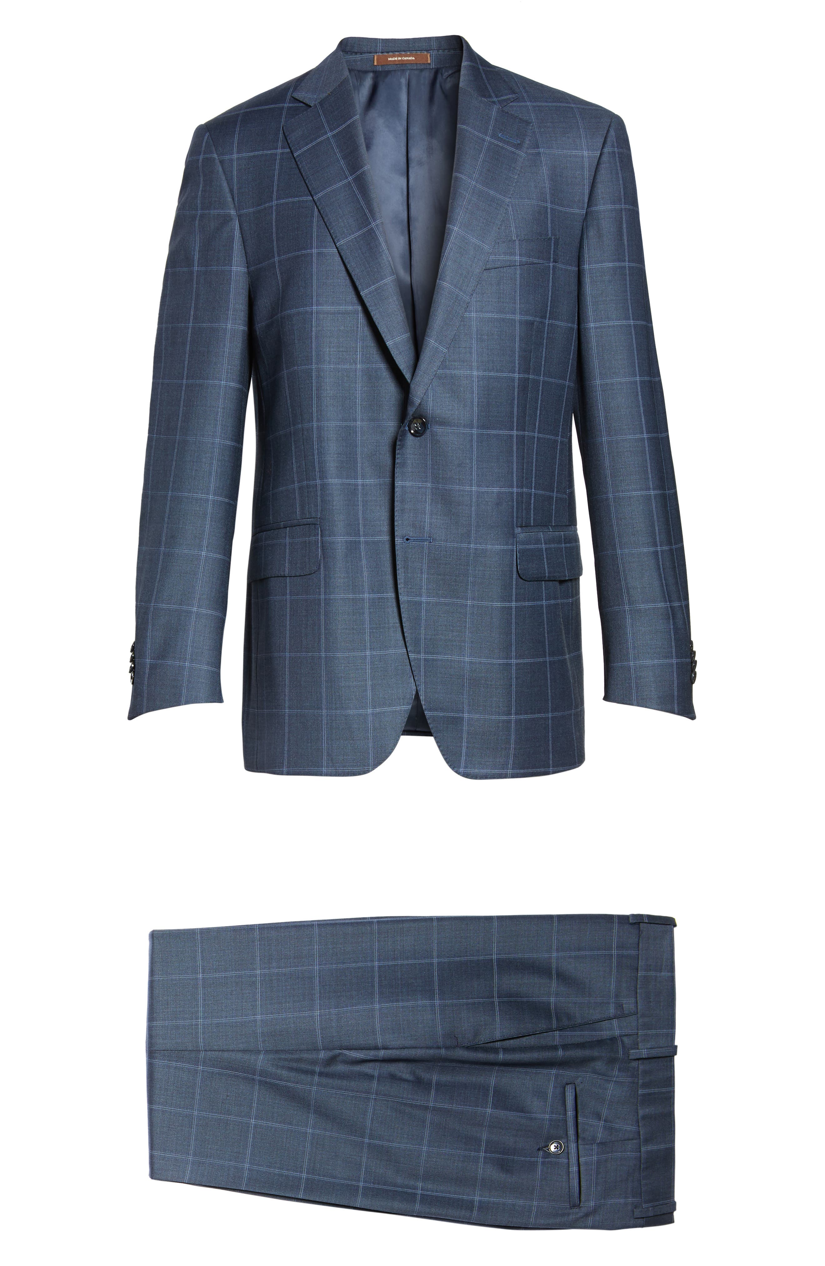 Flynn Classic Fit Windowpane Wool Suit,                             Alternate thumbnail 8, color,                             Blue