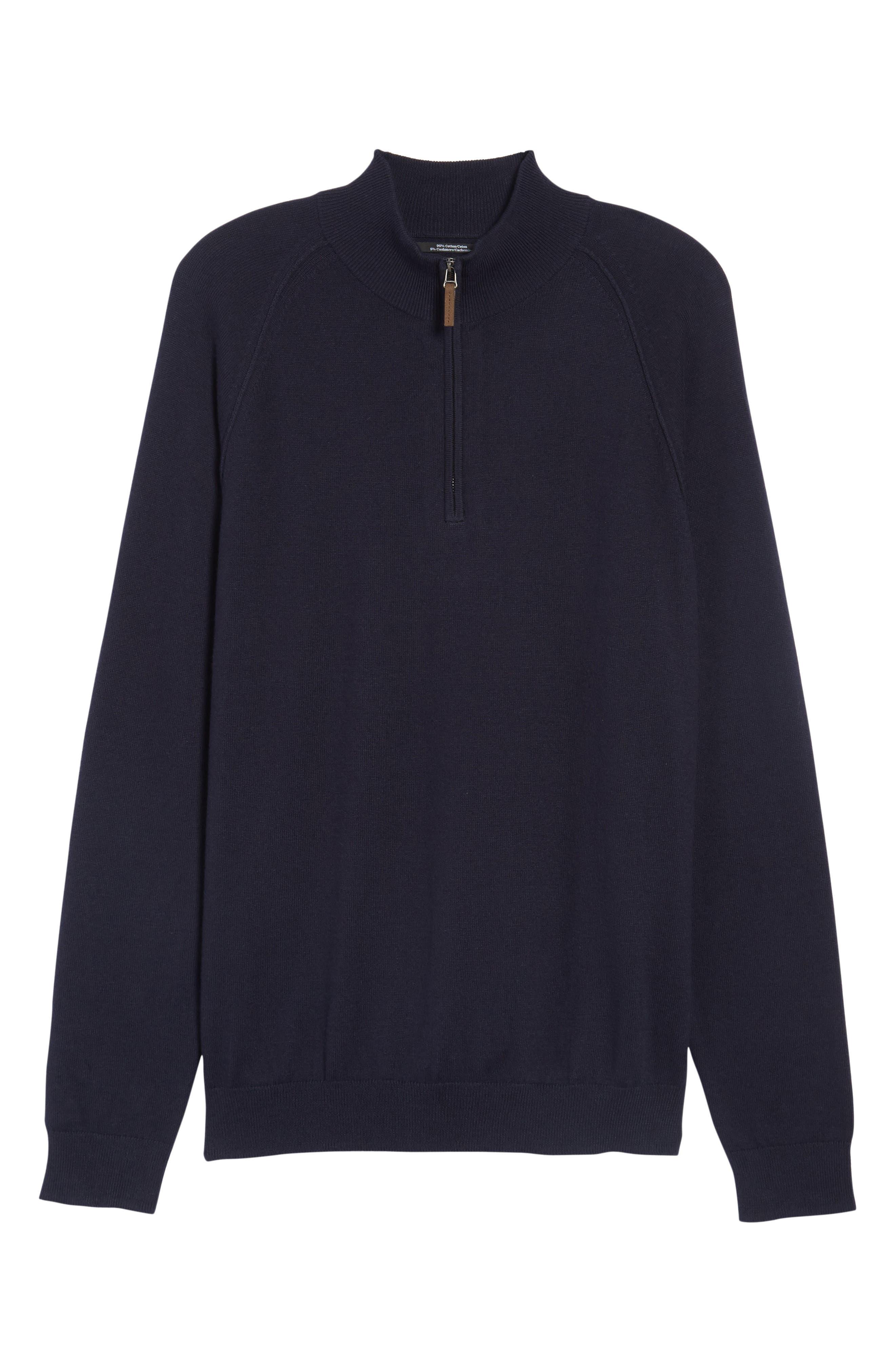 Alternate Image 6  - Nordstrom Men's Shop Saddle Shoulder Quarter Zip Cotton & Cashmere Pullover