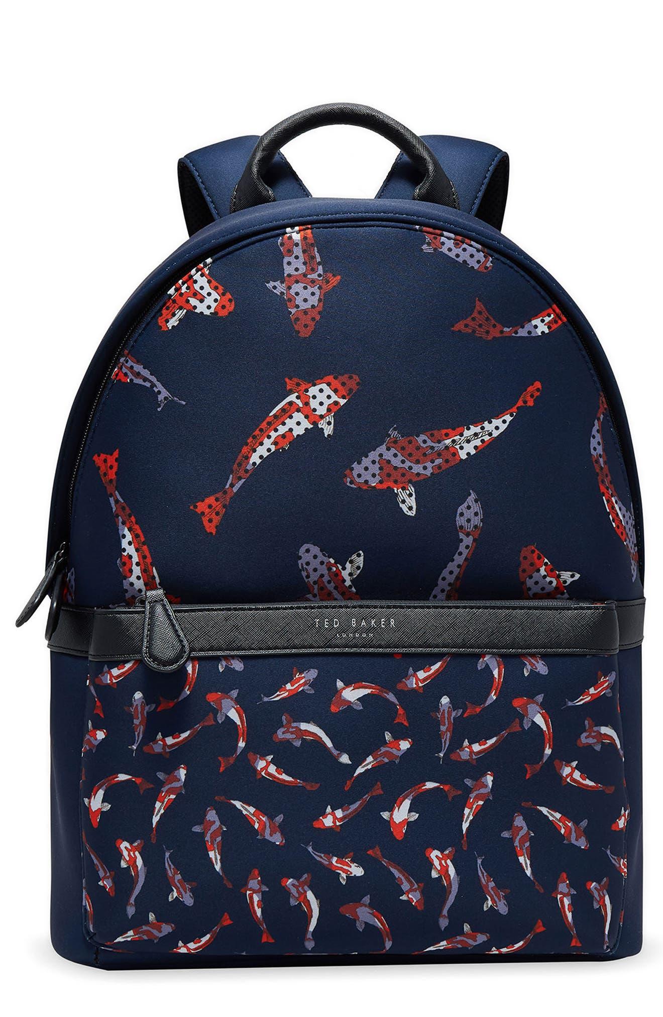 Printed Neoprene Backpack,                         Main,                         color, Navy