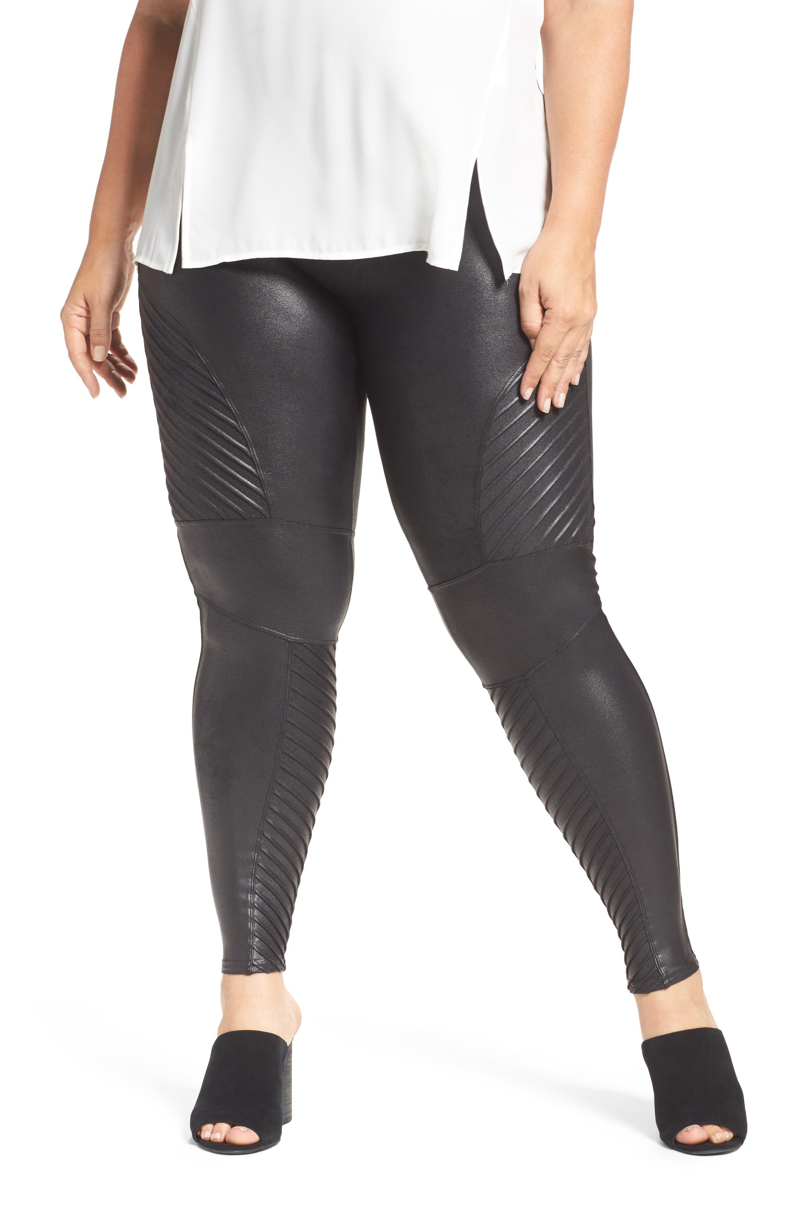 Main Image - SPANX® High Waist Moto Leggings (Plus Size)