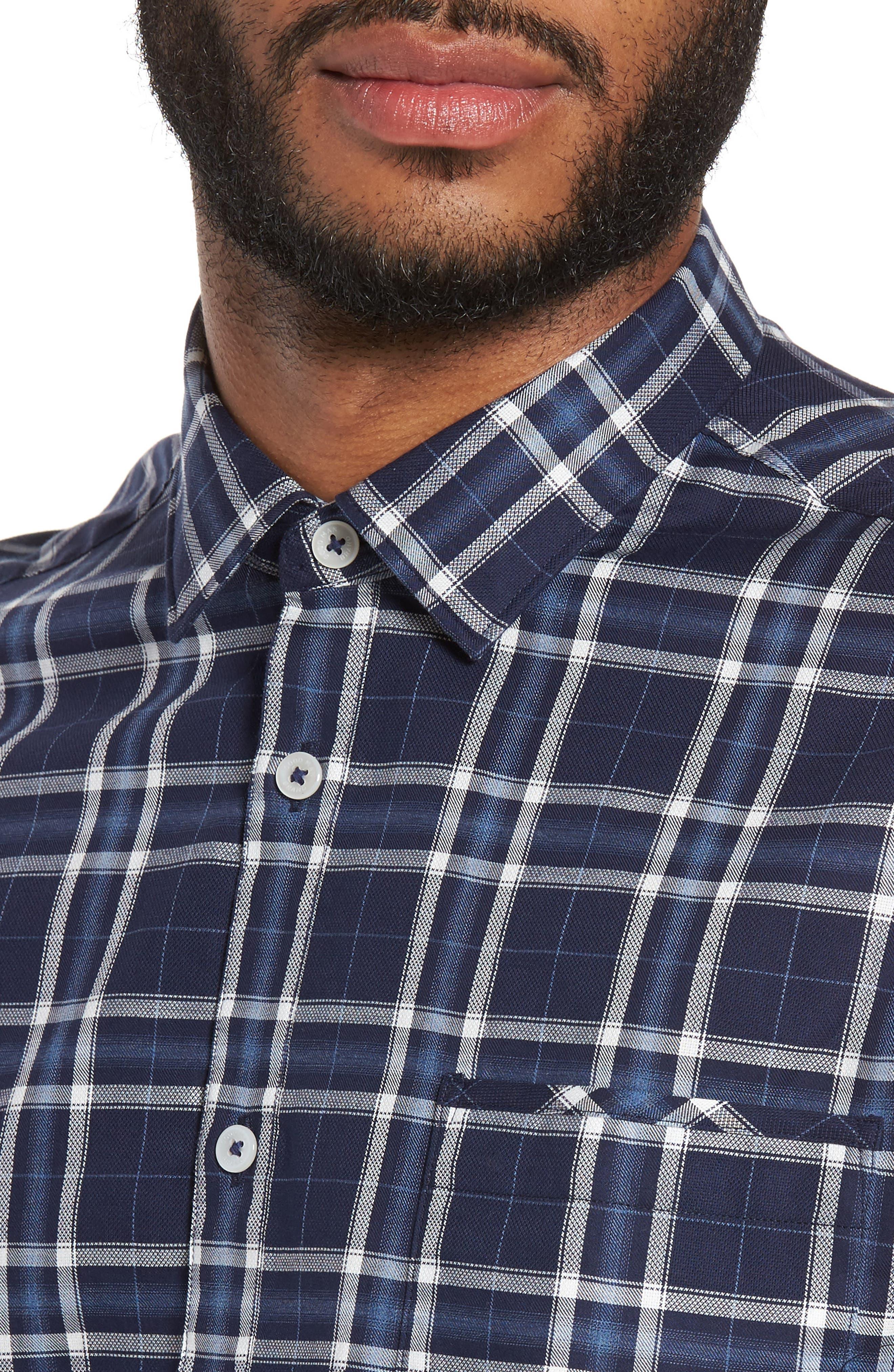 Slim Fit Plaid Sport Shirt,                             Alternate thumbnail 4, color,                             Navy