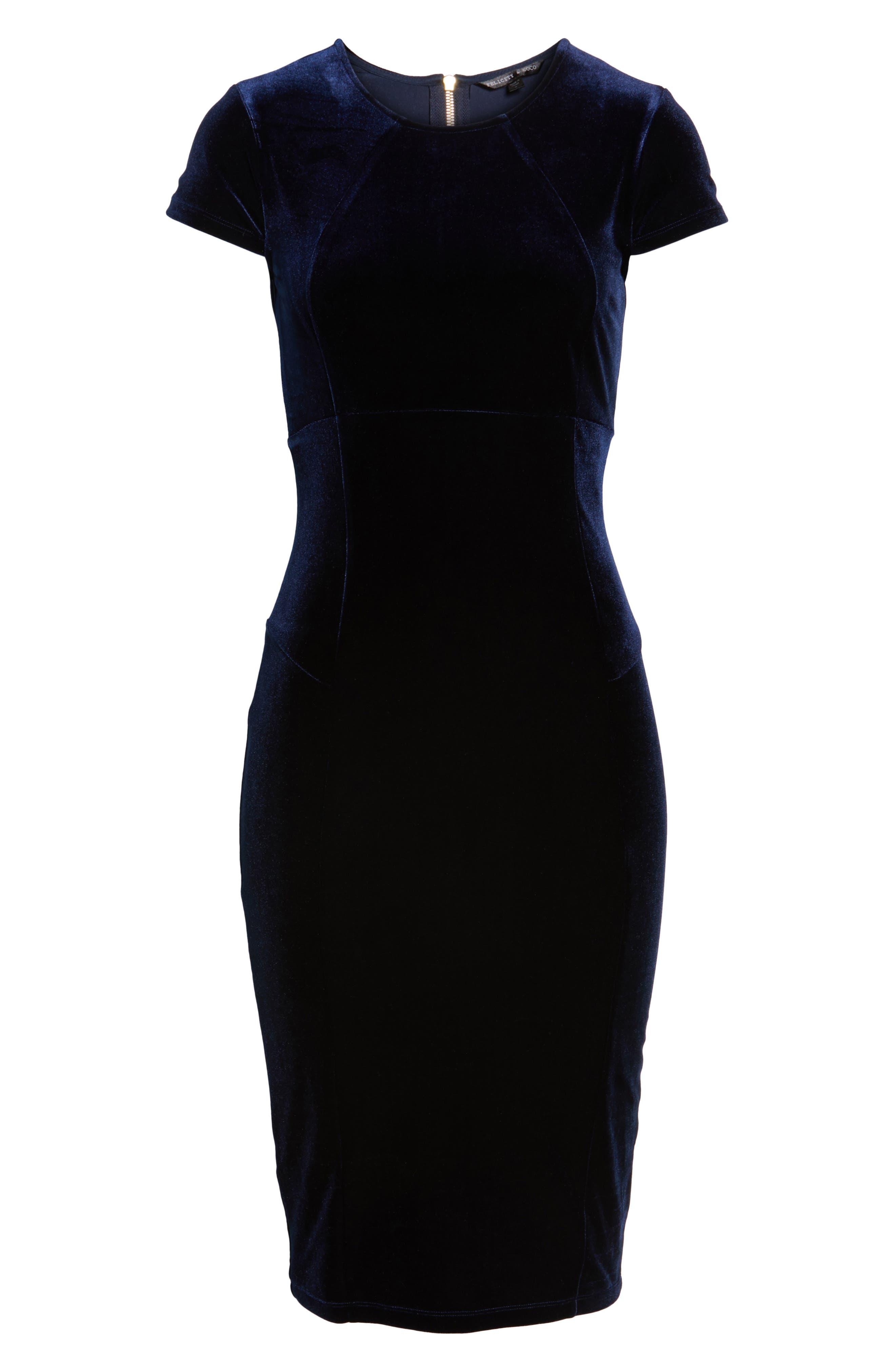 Vista Velvet Midi Dress,                             Alternate thumbnail 6, color,                             Dark Navy