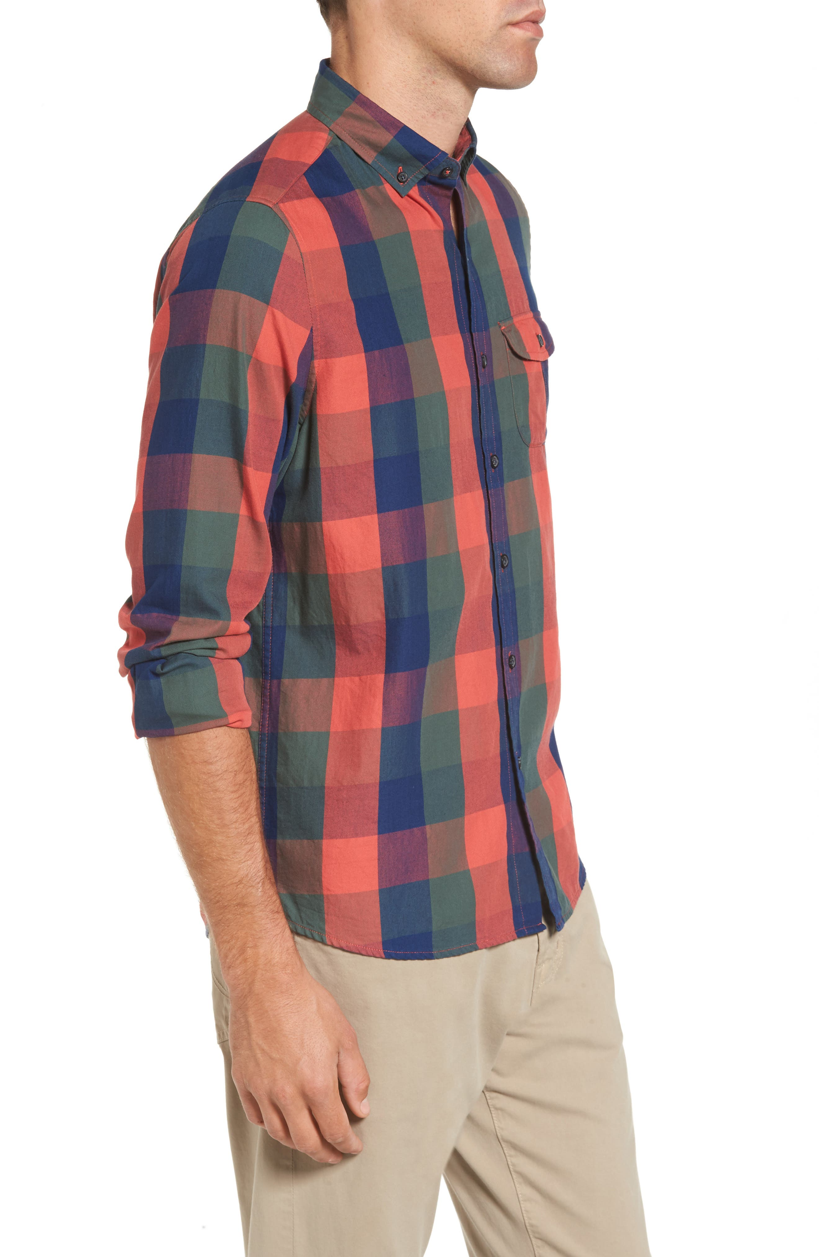 Trim Fit Plaid Sport Shirt,                             Alternate thumbnail 3, color,                             Indigo
