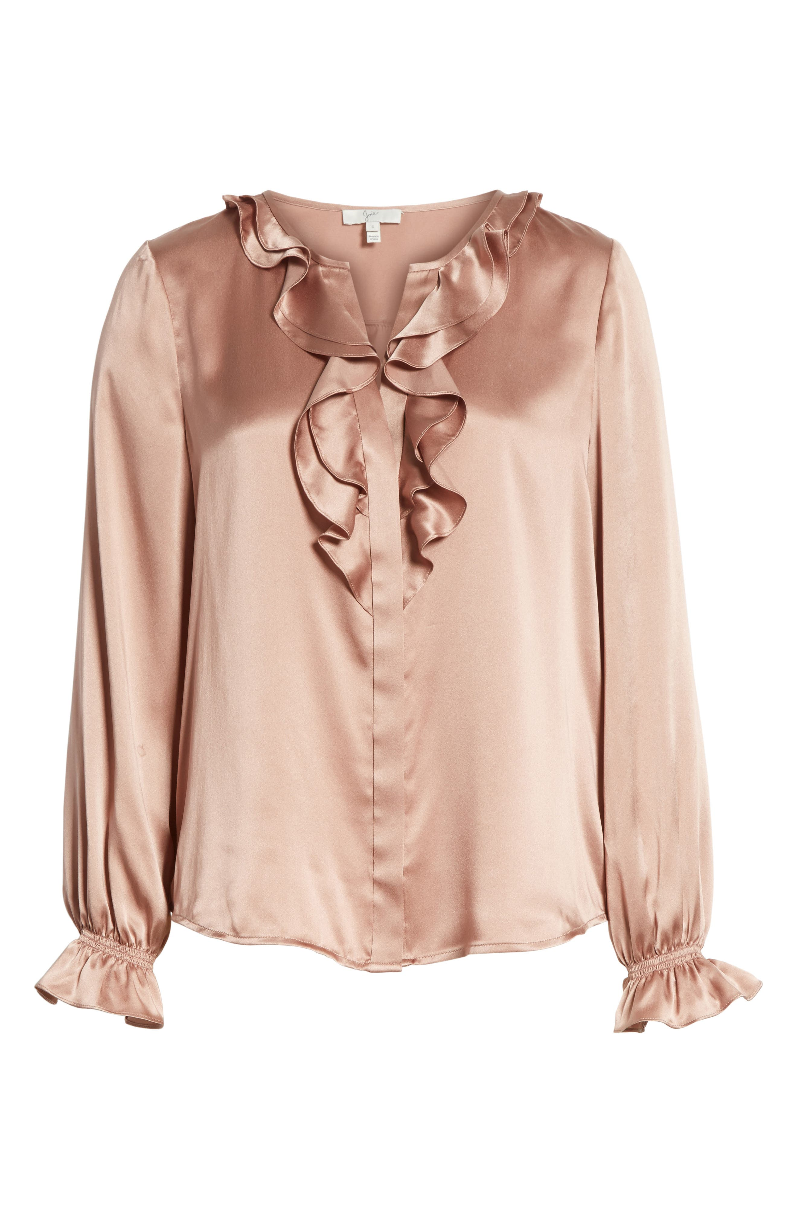 Jayanne B Silk Blouse,                             Alternate thumbnail 6, color,                             Dried Rose