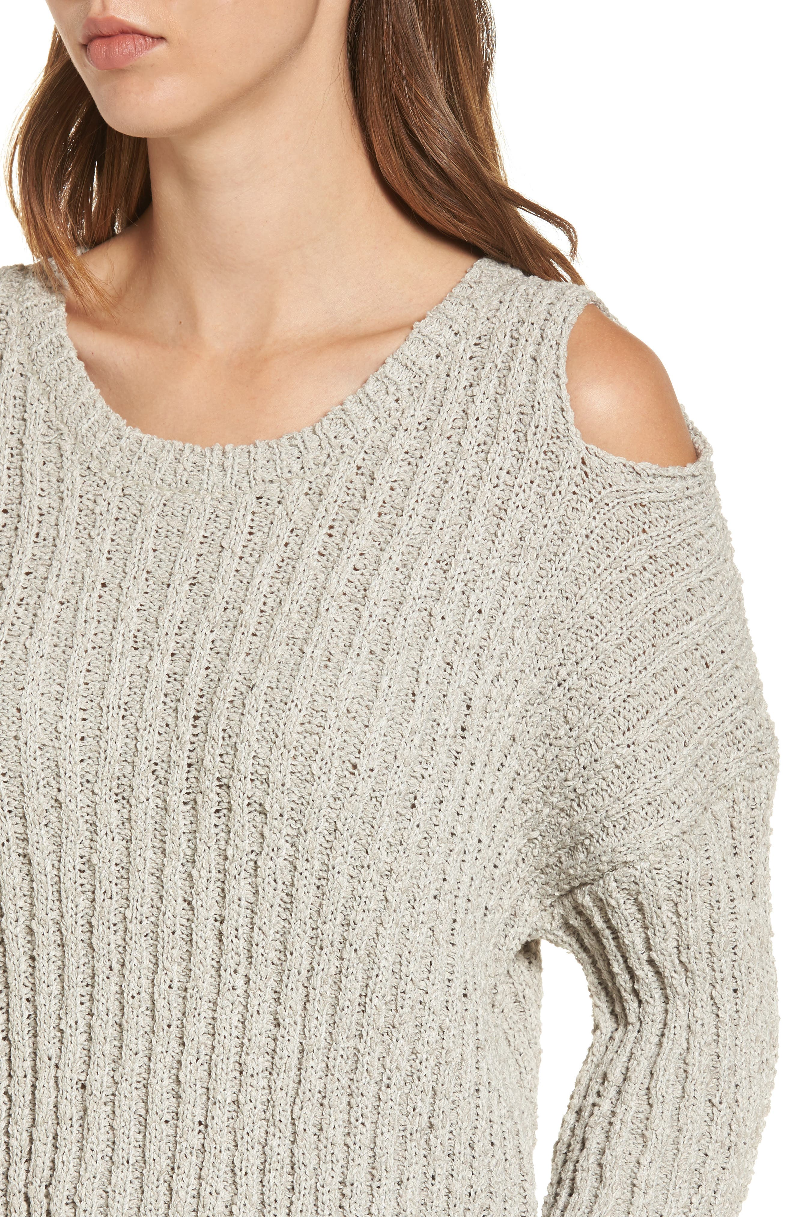 Fuzzy Knit Cold Shoulder Sweater,                             Alternate thumbnail 3, color,                             Grey