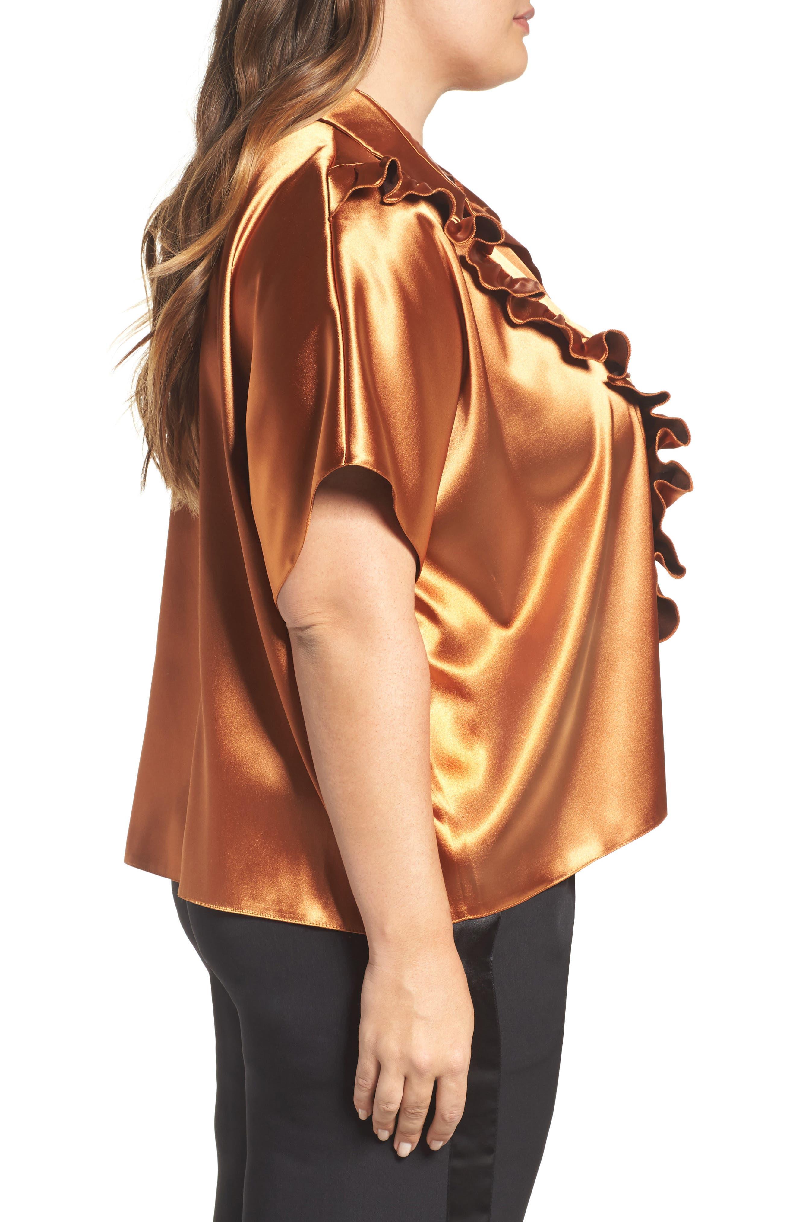 Alternate Image 3  - ELVI Copper Frill Shirt (Plus Size)