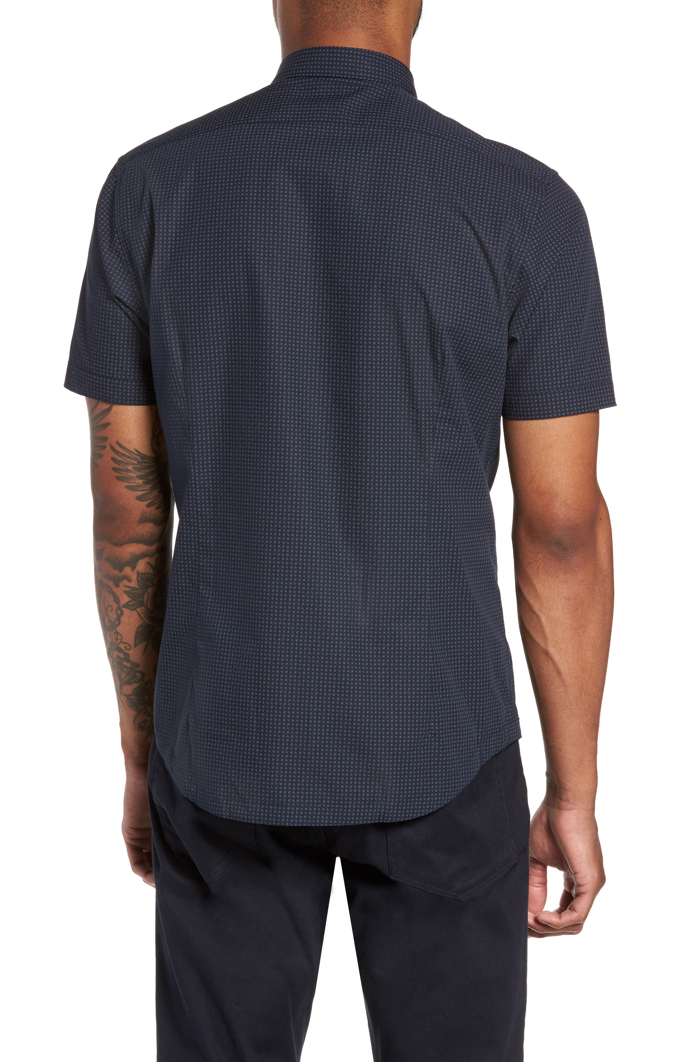 Slim Fit Print Sport Shirt,                             Alternate thumbnail 3, color,                             Navy