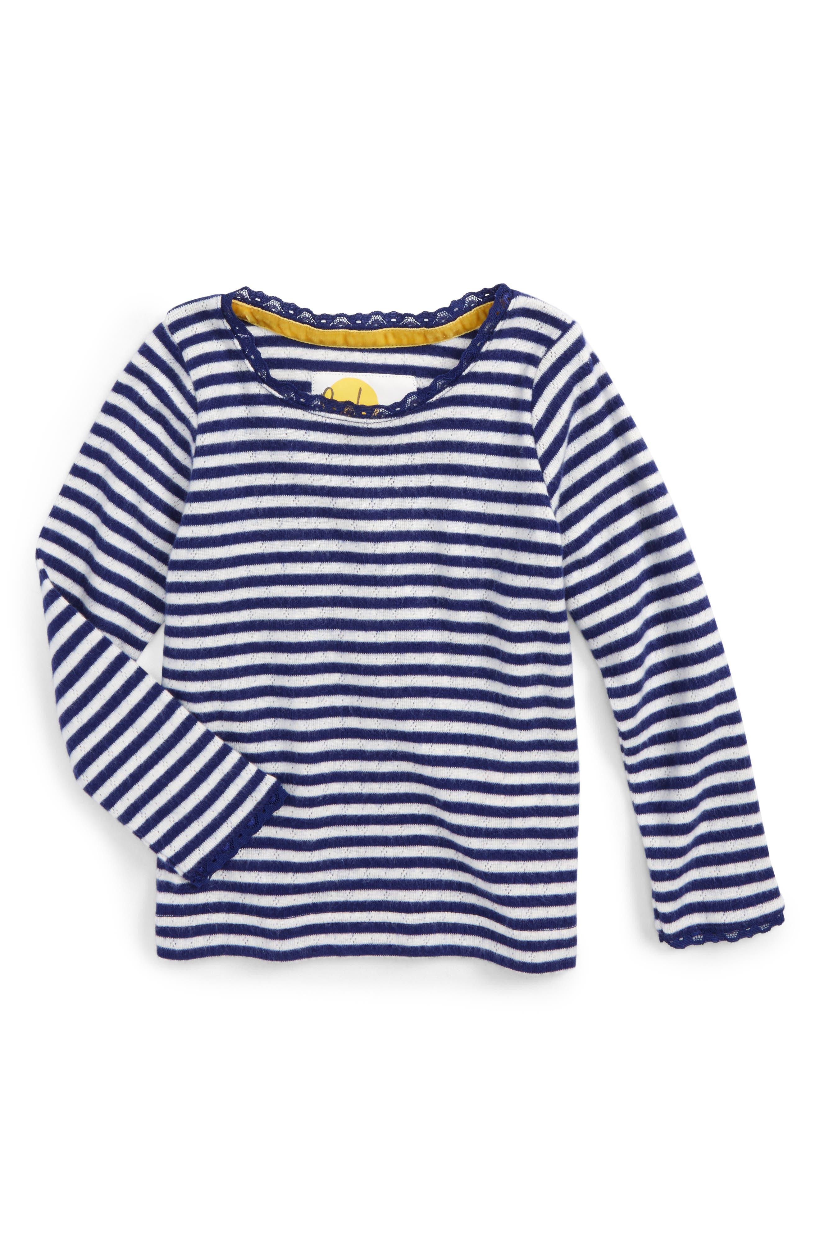 Mini Boden Soft Stripe Pointelle Tee (Toddler Girls, Little Girls & Big Girls)