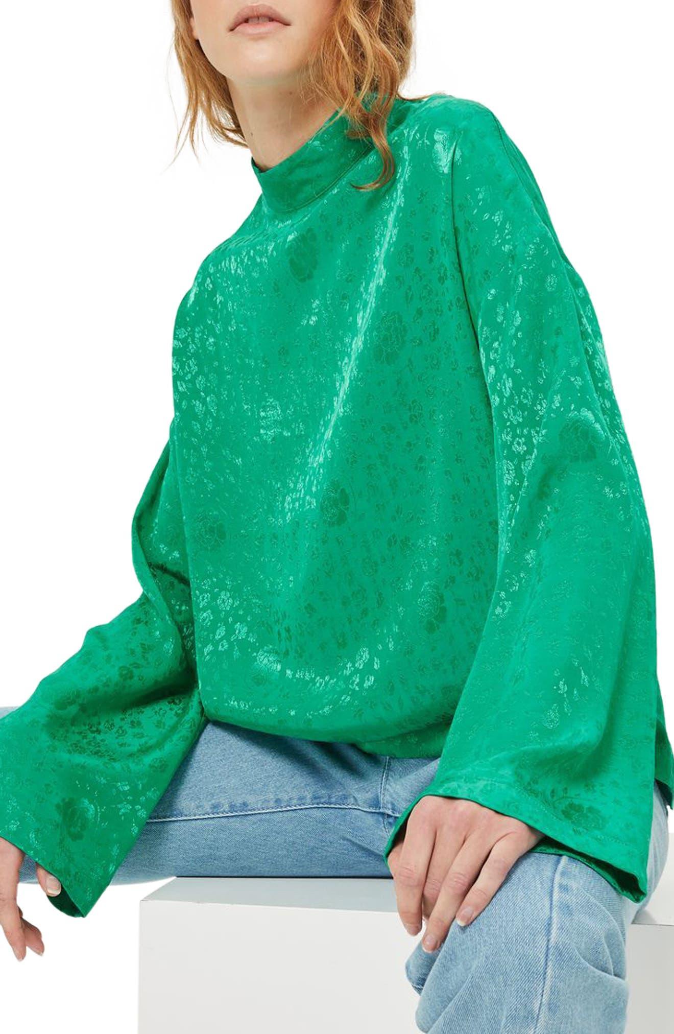 Jacquard Kimono Sleeve Top,                             Alternate thumbnail 2, color,                             Bright Green