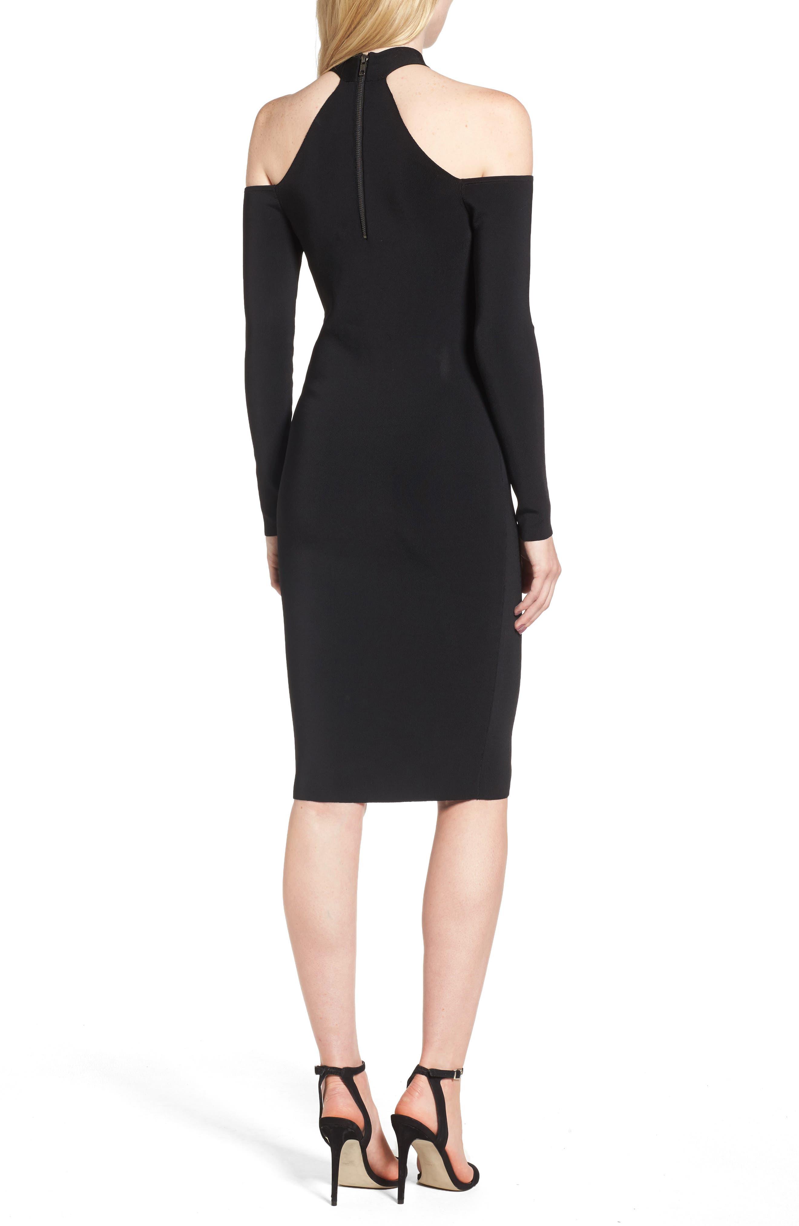 Halter Keyhole Sweater Dress,                             Alternate thumbnail 3, color,                             Black