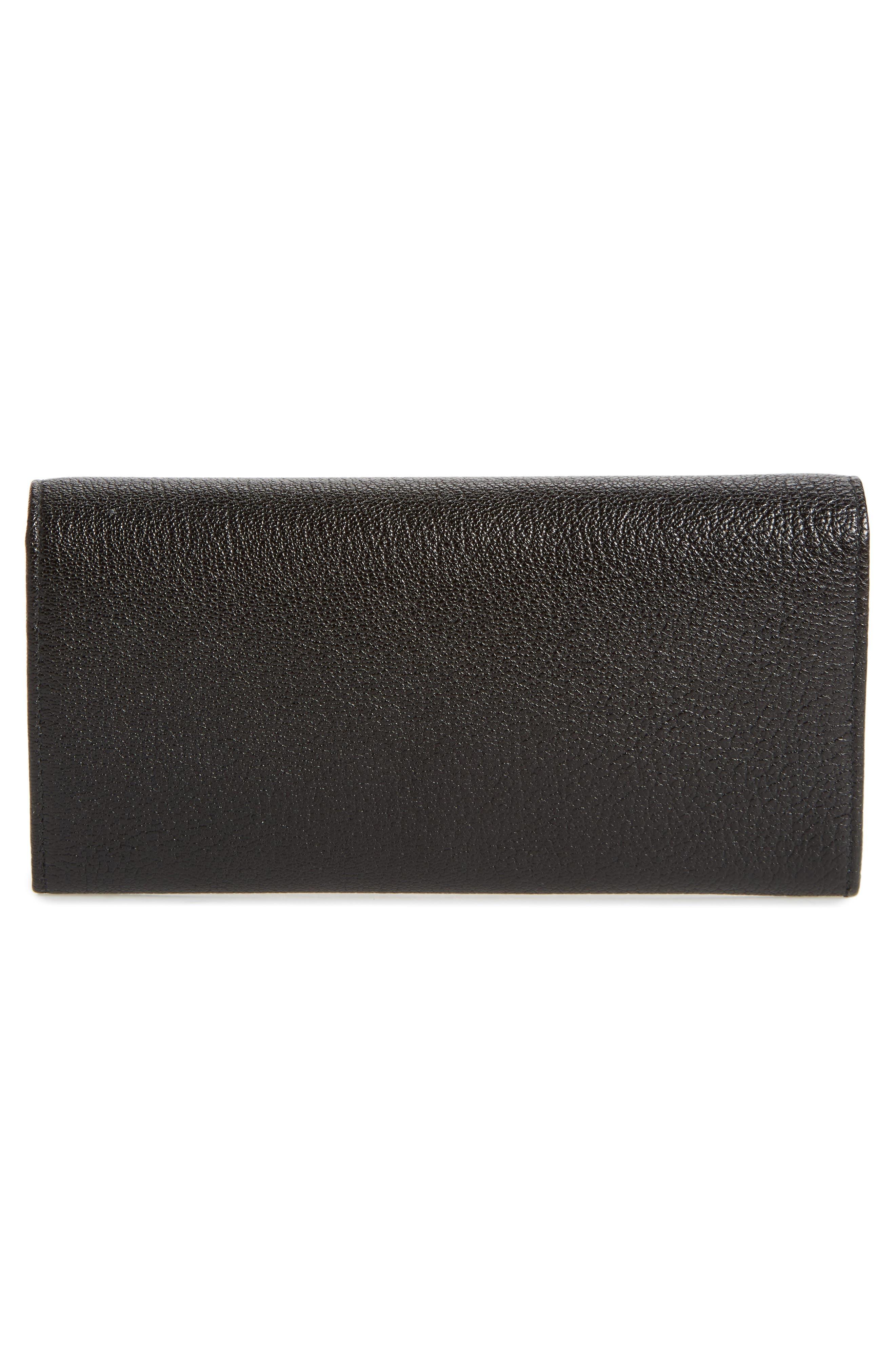 Metallic Edge Leather Wallet,                             Alternate thumbnail 4, color,                             Noir