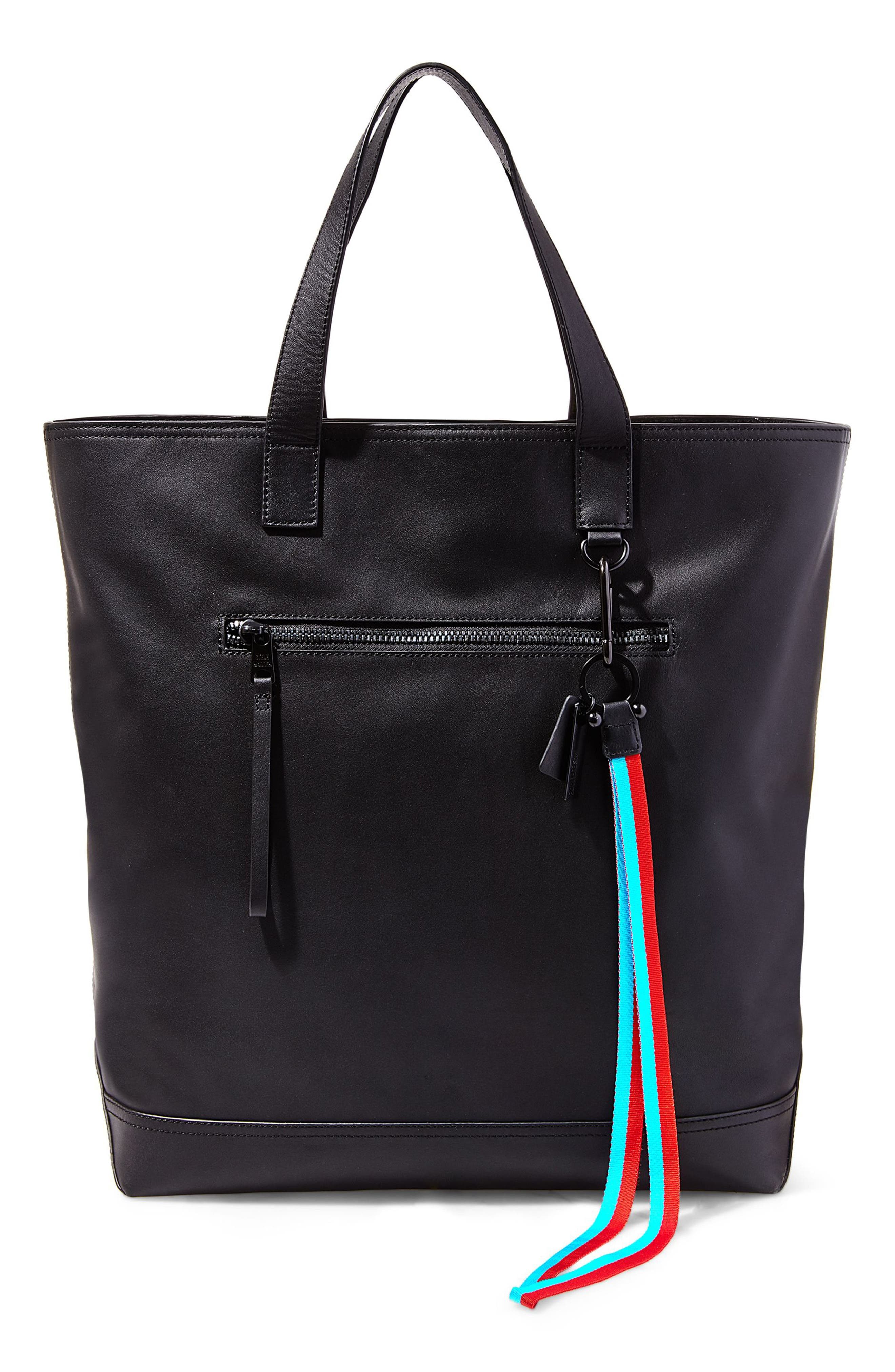 GQ x Steve Madden Leather Tote Bag,                             Main thumbnail 1, color,                             Black