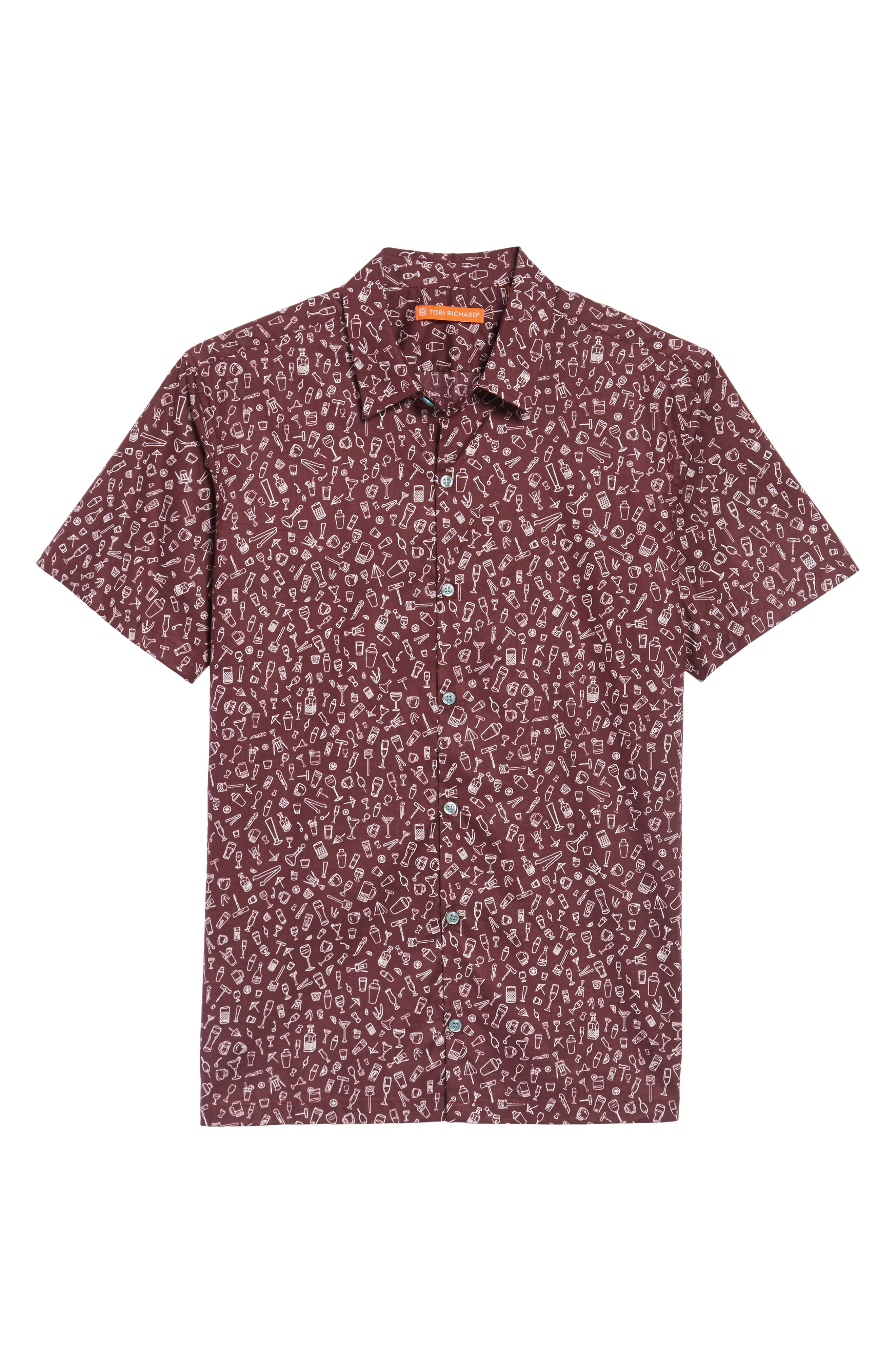 5 PM Slim Fit Camp Shirt,                             Alternate thumbnail 6, color,                             Wine