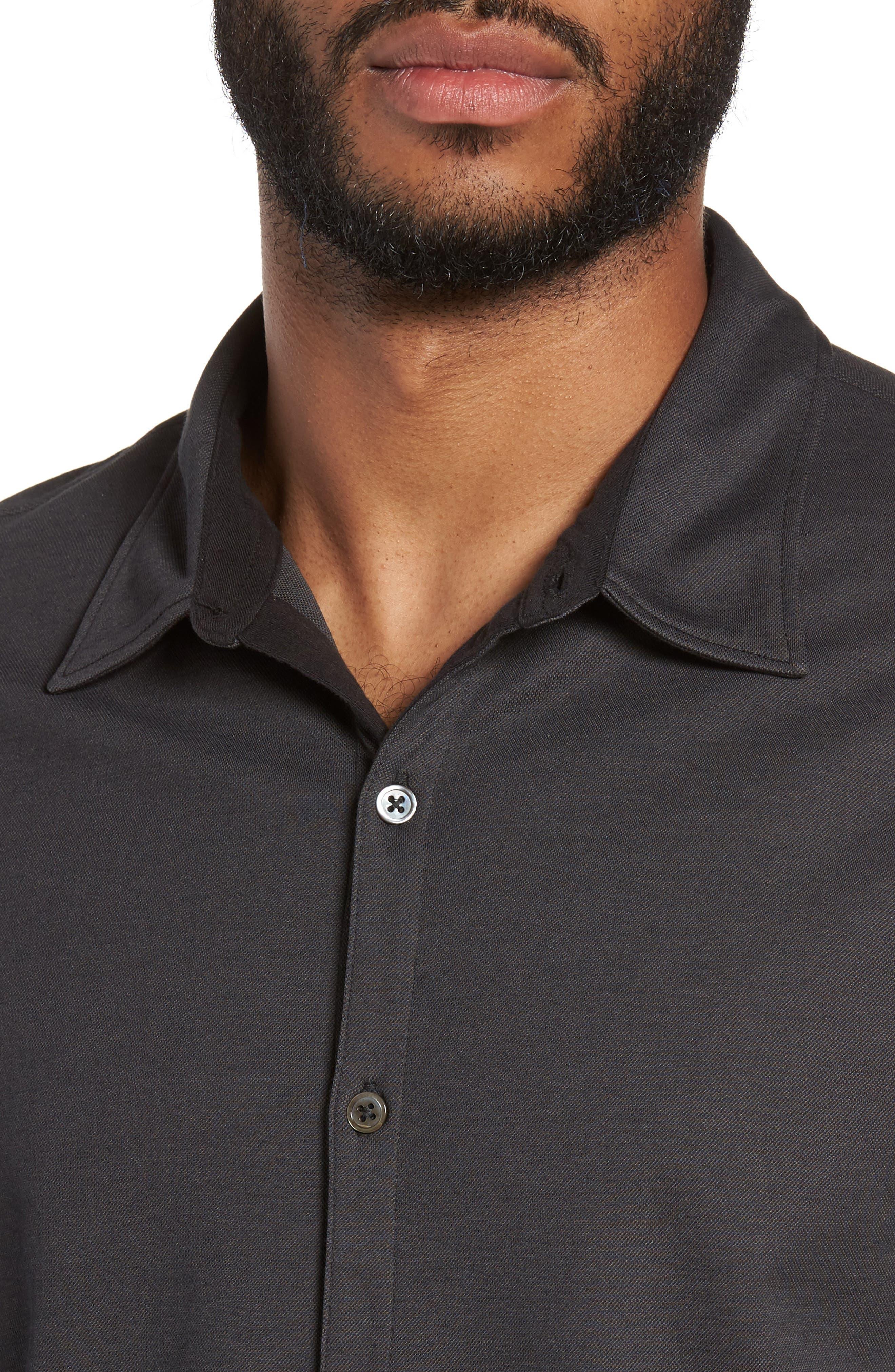 Glacier Knit Sport Shirt,                             Alternate thumbnail 4, color,                             Black