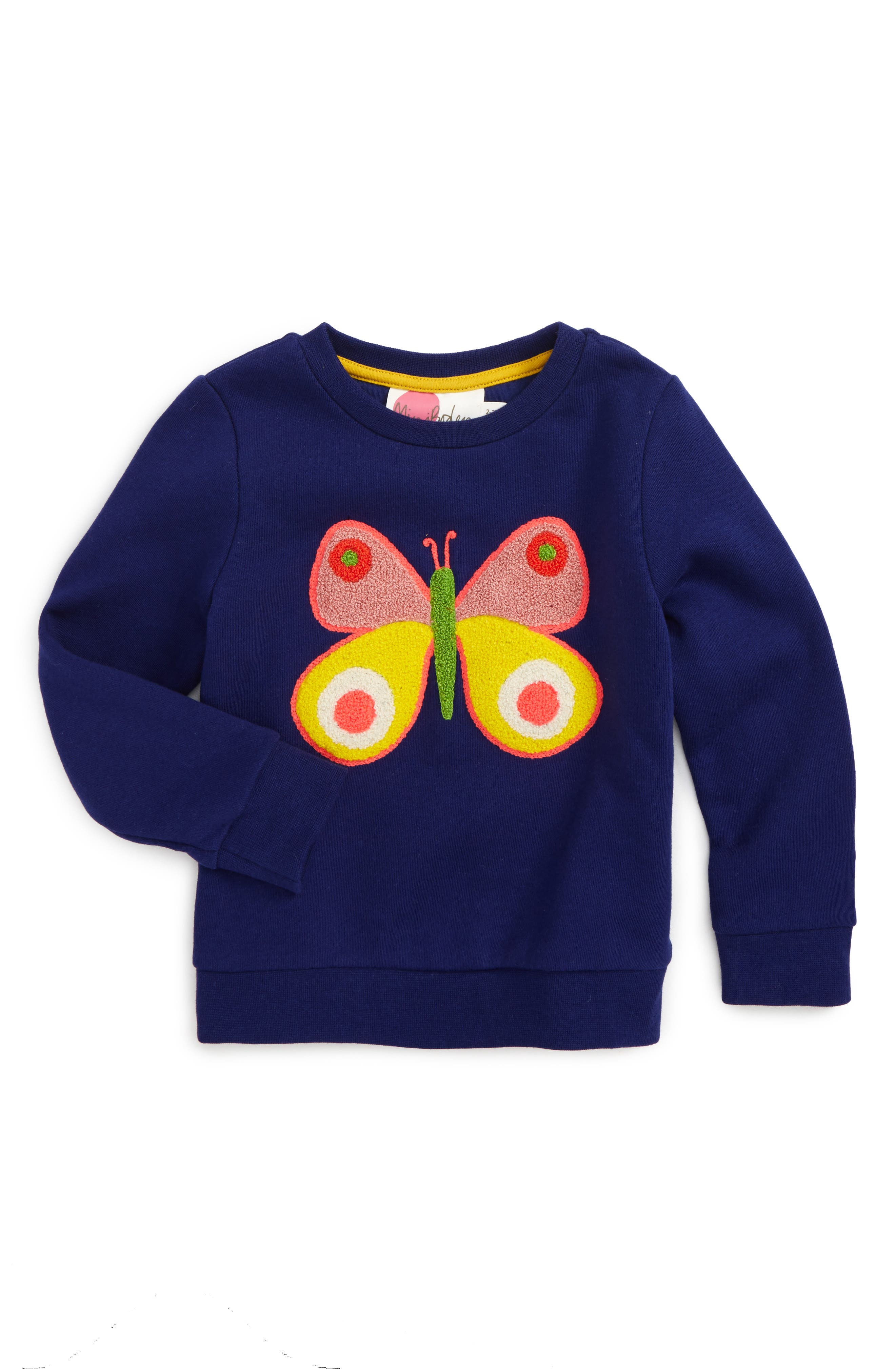 Main Image - Mini Boden Bouclé Embroidered Sweatshirt (Toddler Girls, Little Girls & Big Girls)