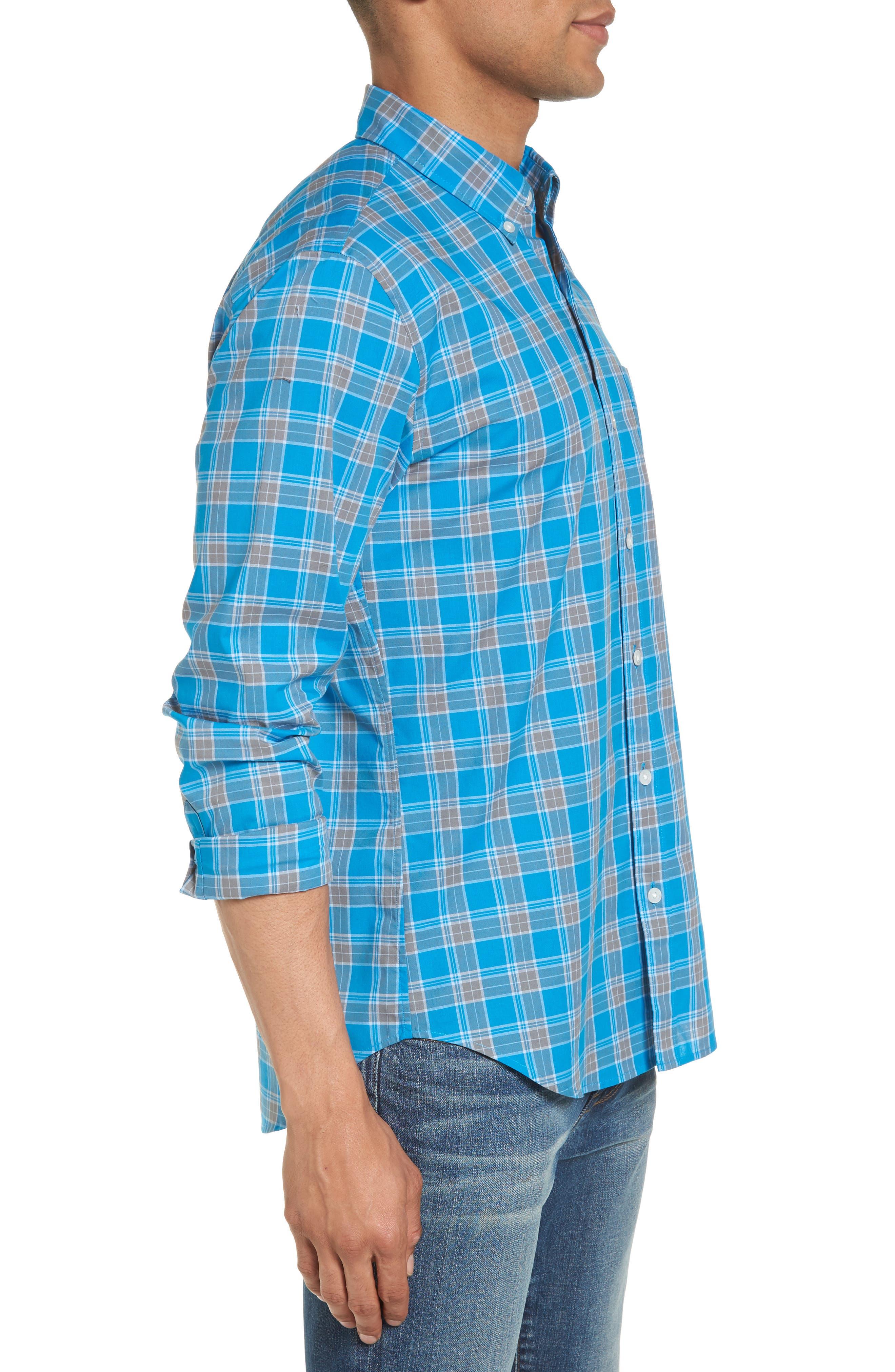 Summerweight Slim Fit Plaid Sport Shirt,                             Alternate thumbnail 3, color,                             Blue