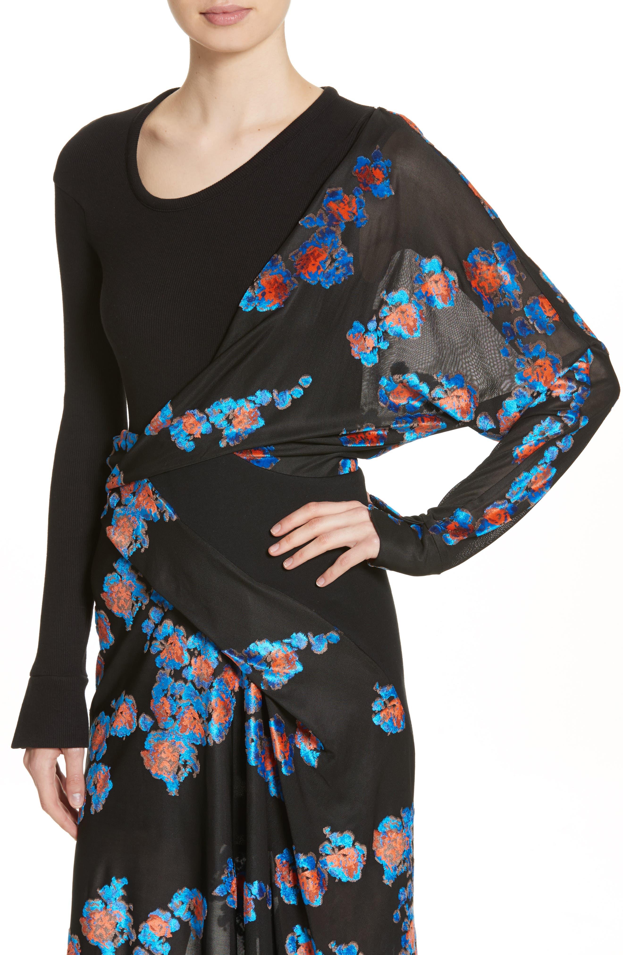 Jersey Jacquard Draped Maxi Dress,                             Alternate thumbnail 6, color,                             Black/ Black