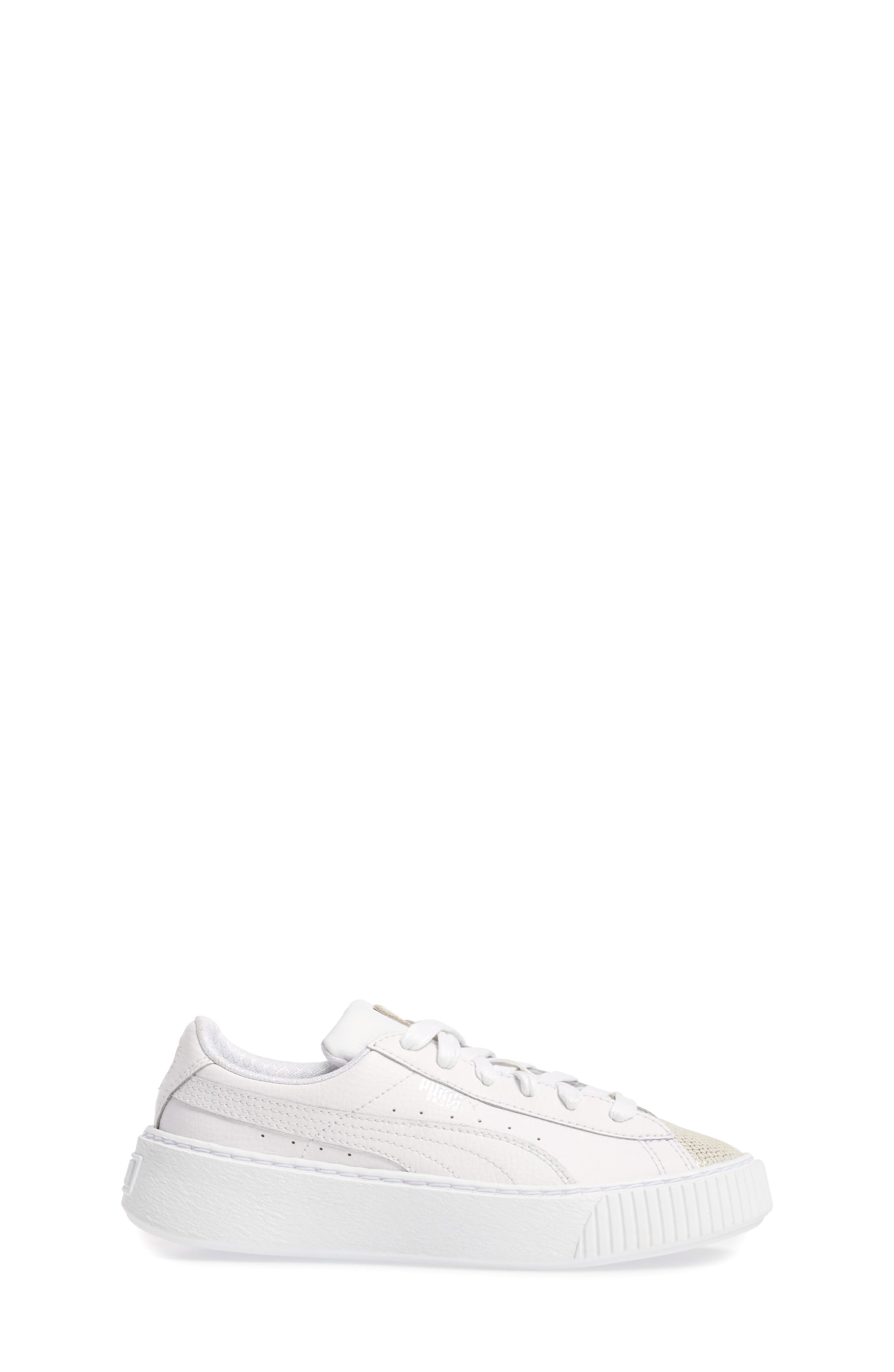 Basket Glitz Platform Sneaker,                             Alternate thumbnail 3, color,                             Puma White