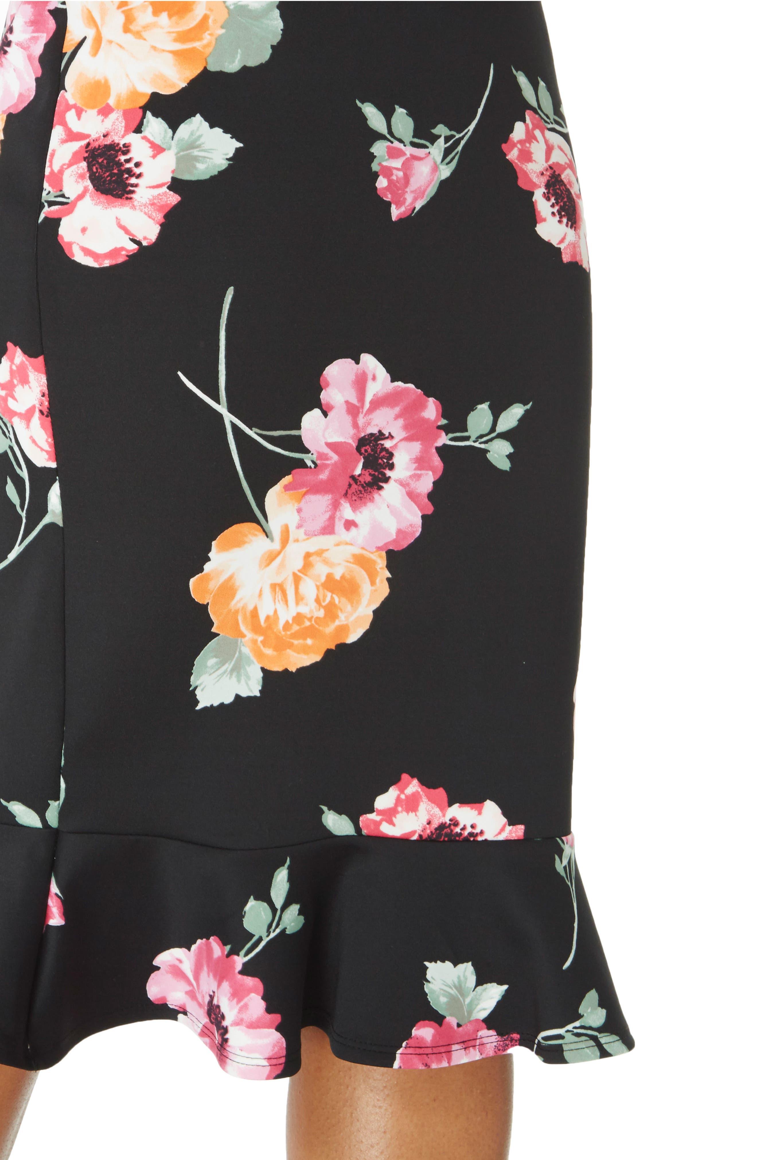 Floral Sheath Dress,                             Alternate thumbnail 3, color,                             Black