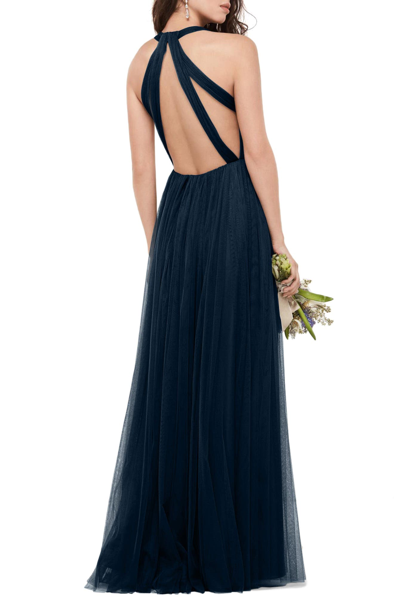 Bobbinet Halter Gown,                             Alternate thumbnail 2, color,                             Indigo
